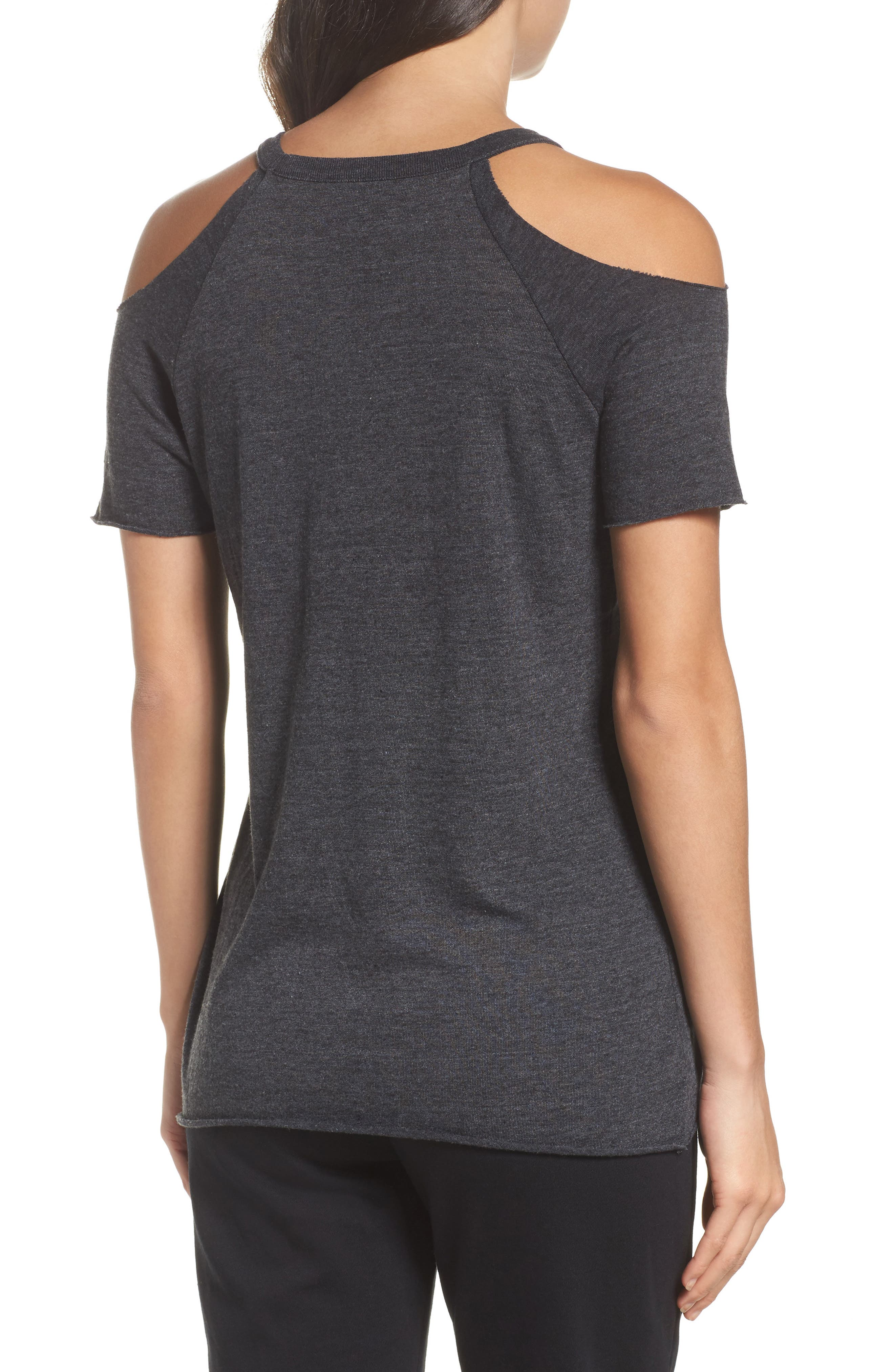 Cold Shoulder Jersey Tee,                             Alternate thumbnail 2, color,                             001