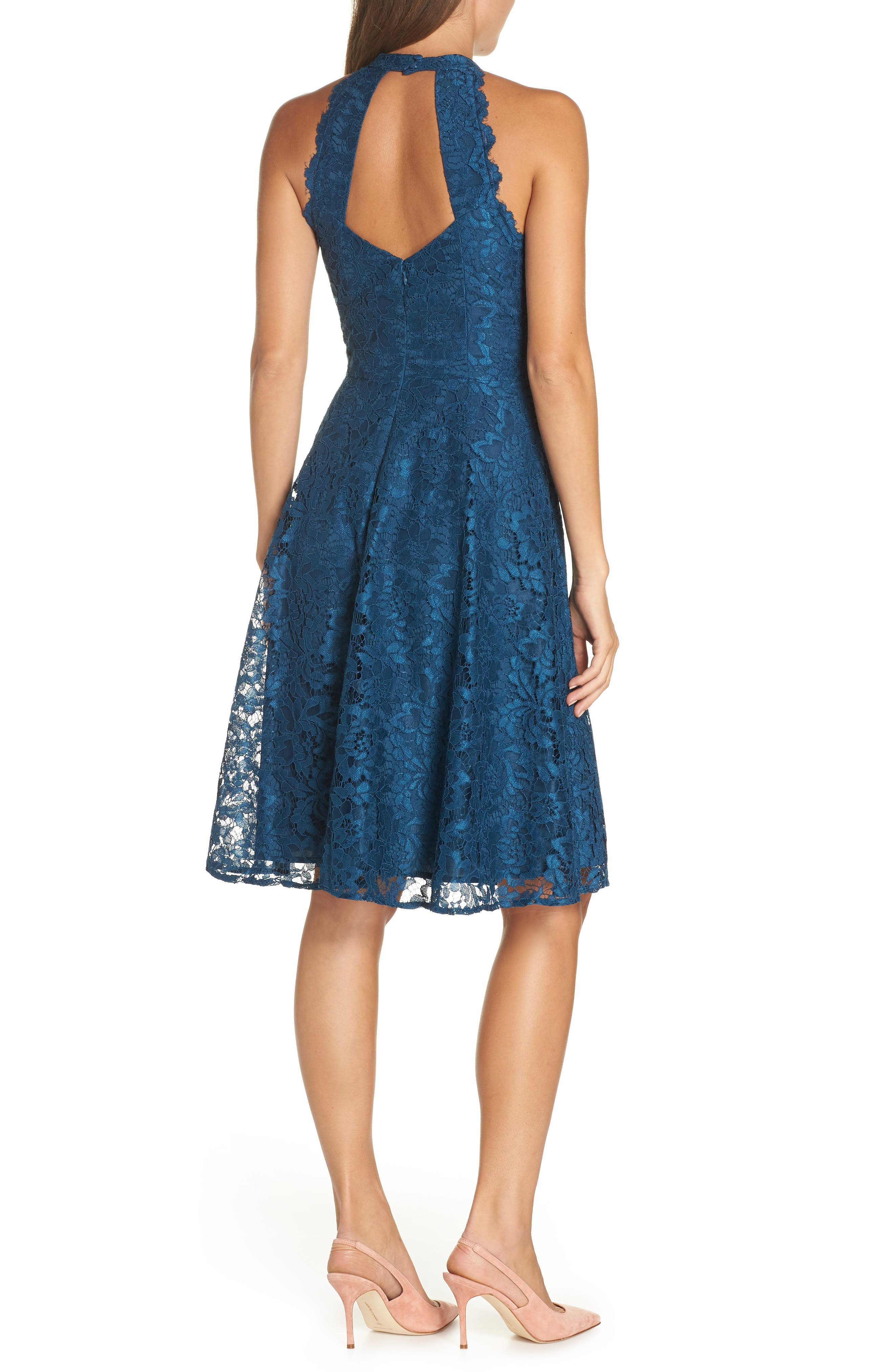 Halter Neck Lace Fit and Flare Dress,                             Alternate thumbnail 2, color,                             TEAL