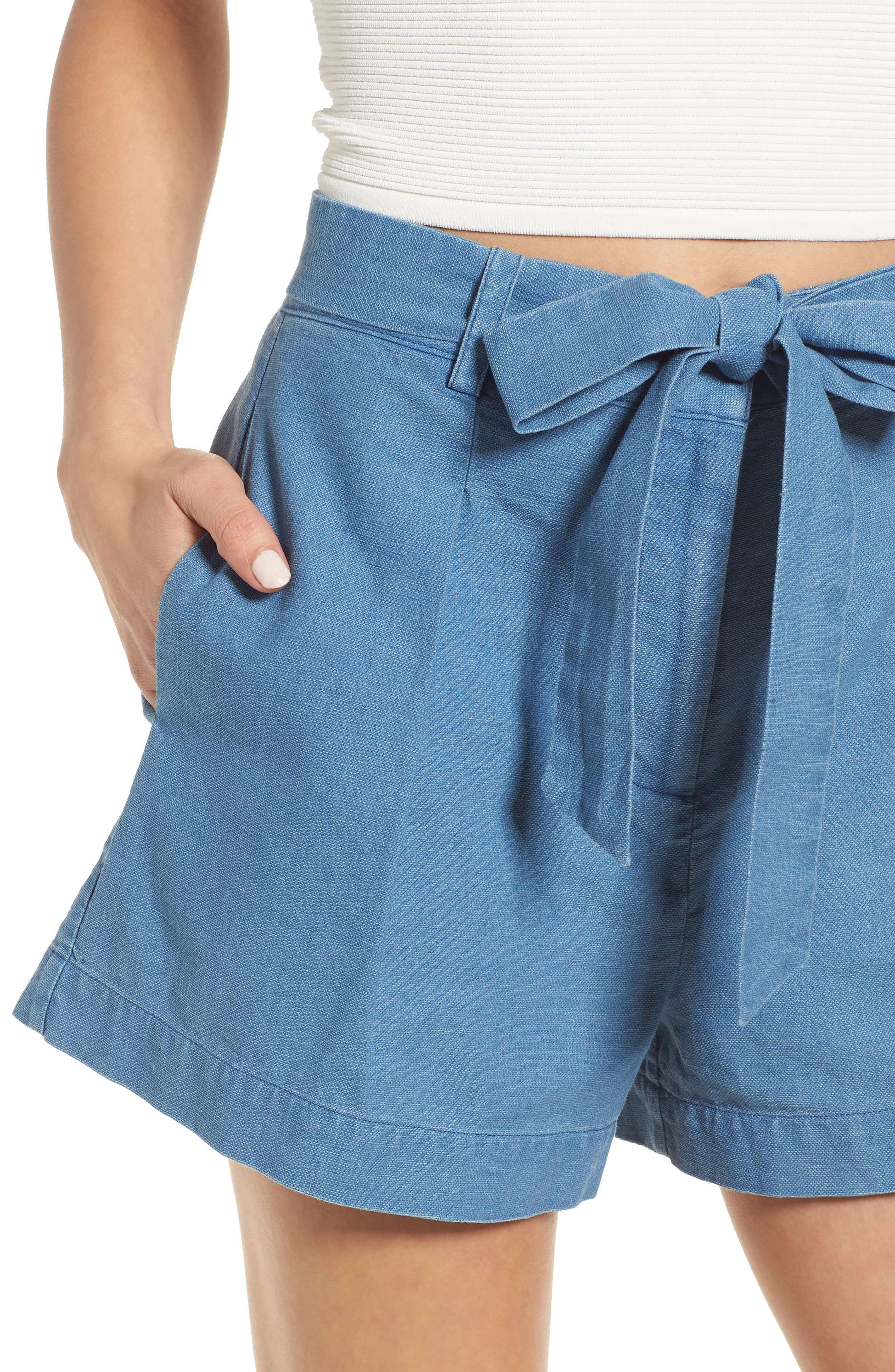 Tie Front Chambray Shorts,                             Alternate thumbnail 4, color,                             400