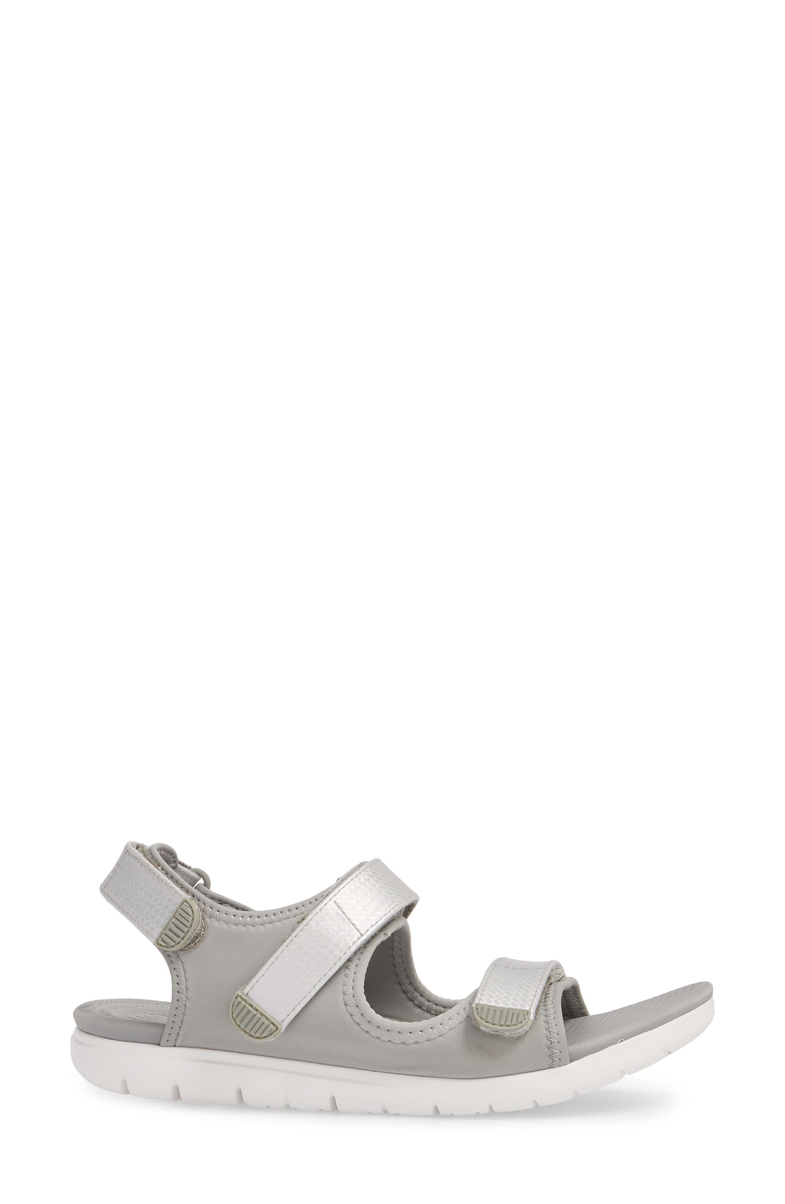 FitfFlop Neoflex<sup>™</sup> Back Strap Sandal,                             Alternate thumbnail 3, color,                             SOFT GREY/ SILVER LEATHER