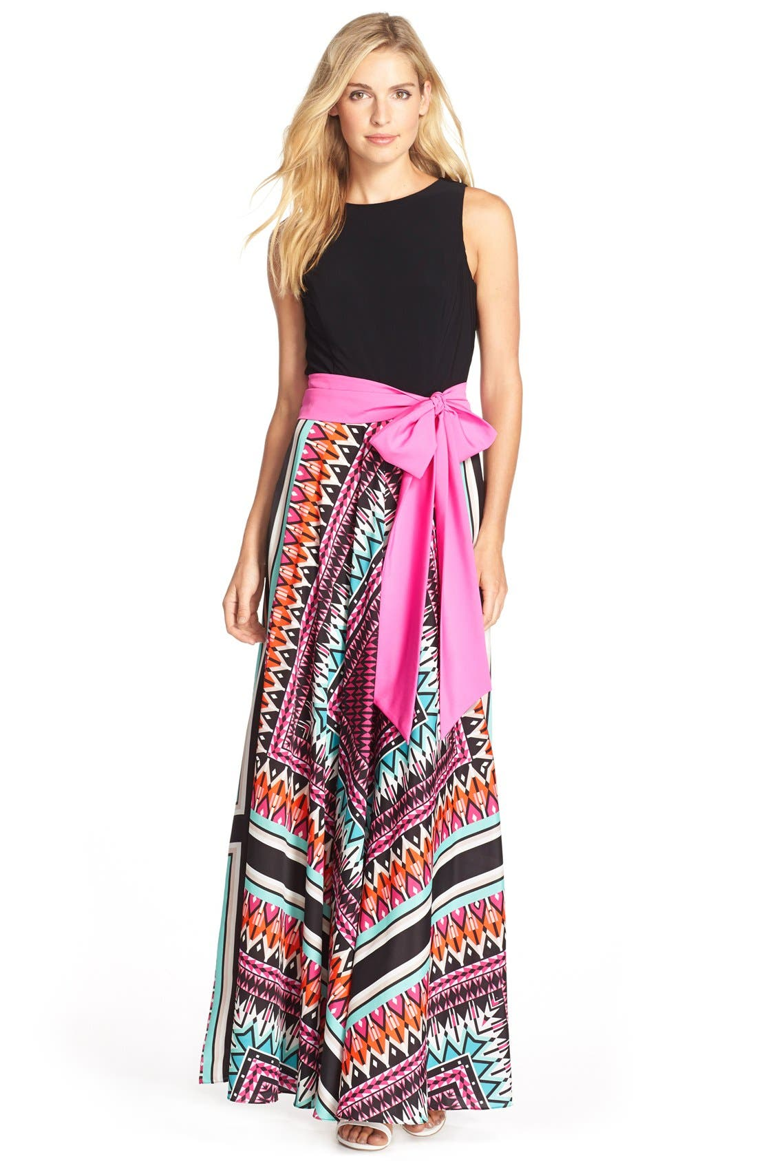 Jersey & Crêpe de Chine Maxi Dress,                             Main thumbnail 1, color,                             653