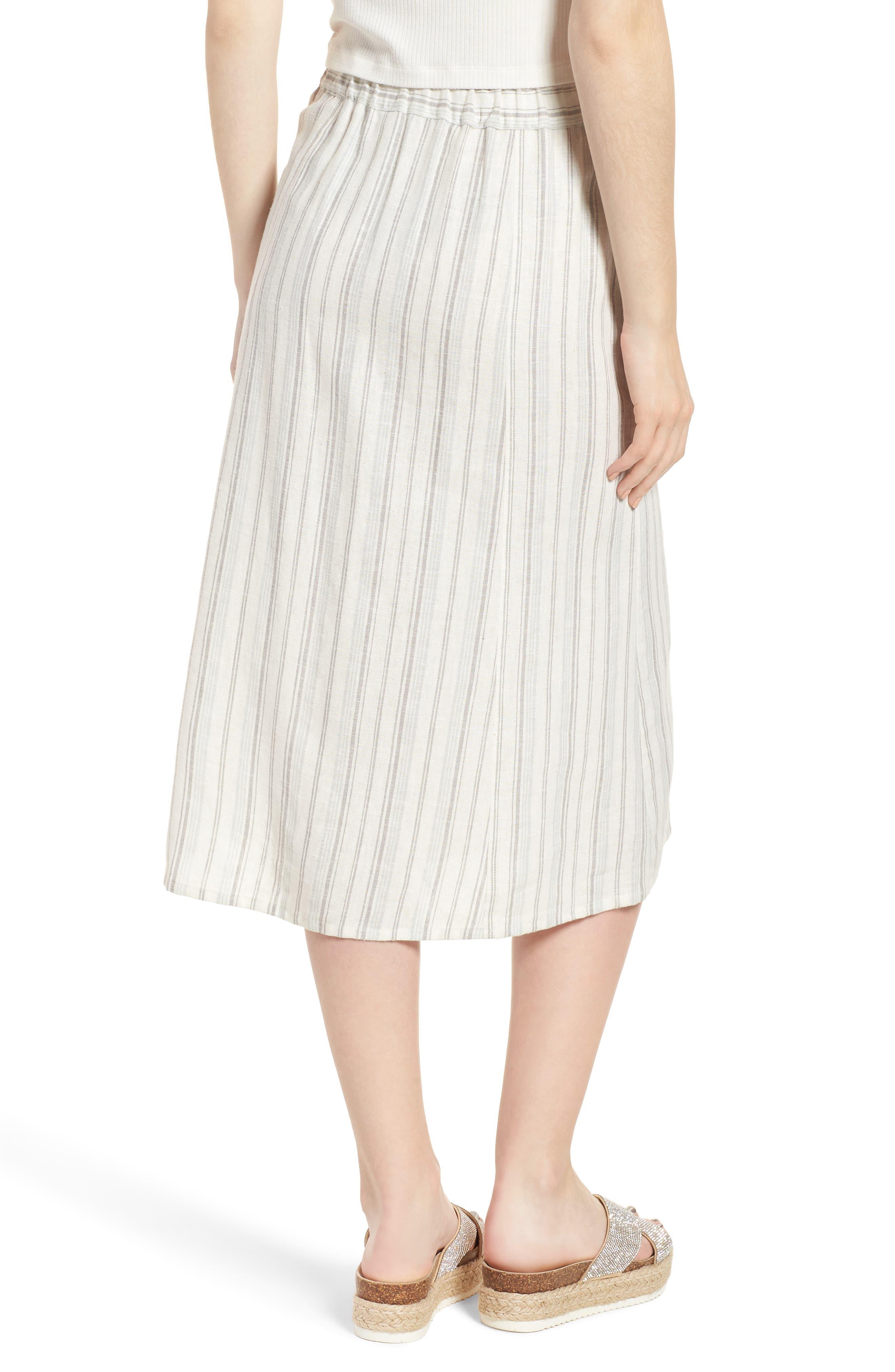 Stripe Linen Blend Midi Skirt,                             Alternate thumbnail 2, color,                             IVORY VERIGATED STRIPE