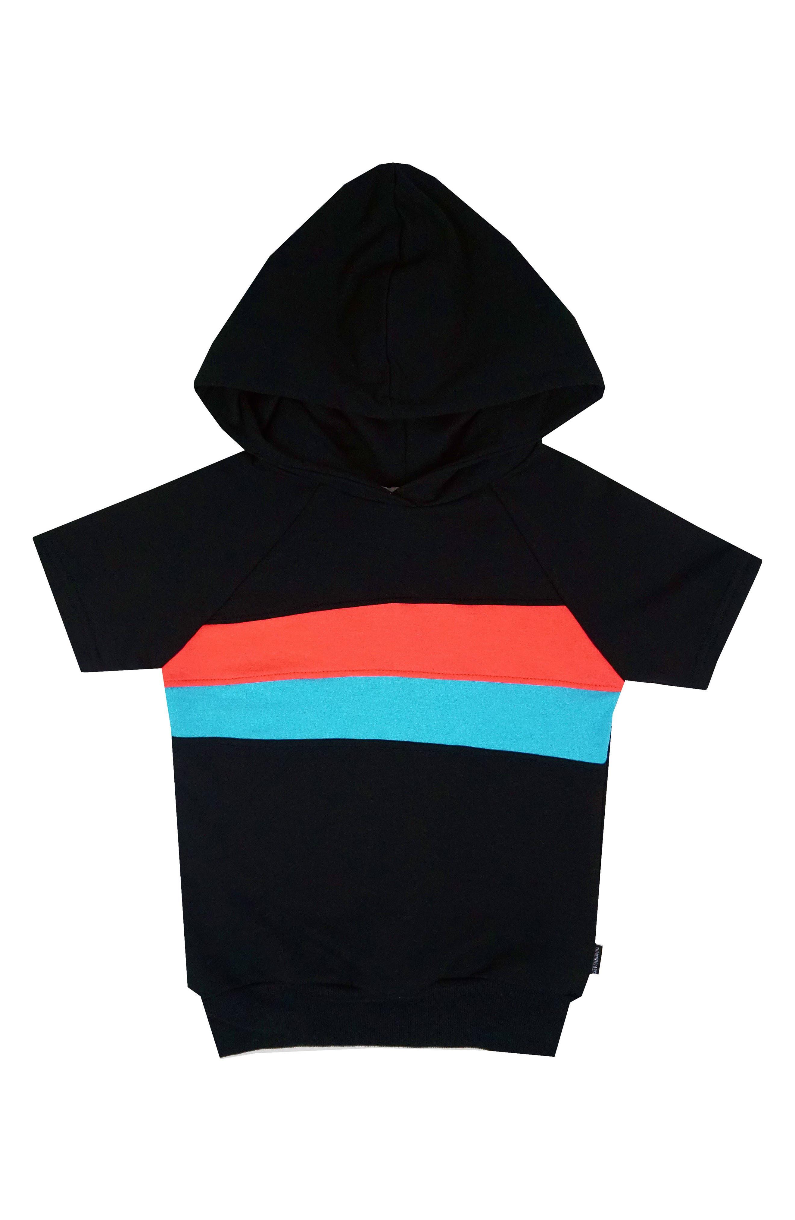 Colorblock Short Sleeve Hoodie,                         Main,                         color, 001