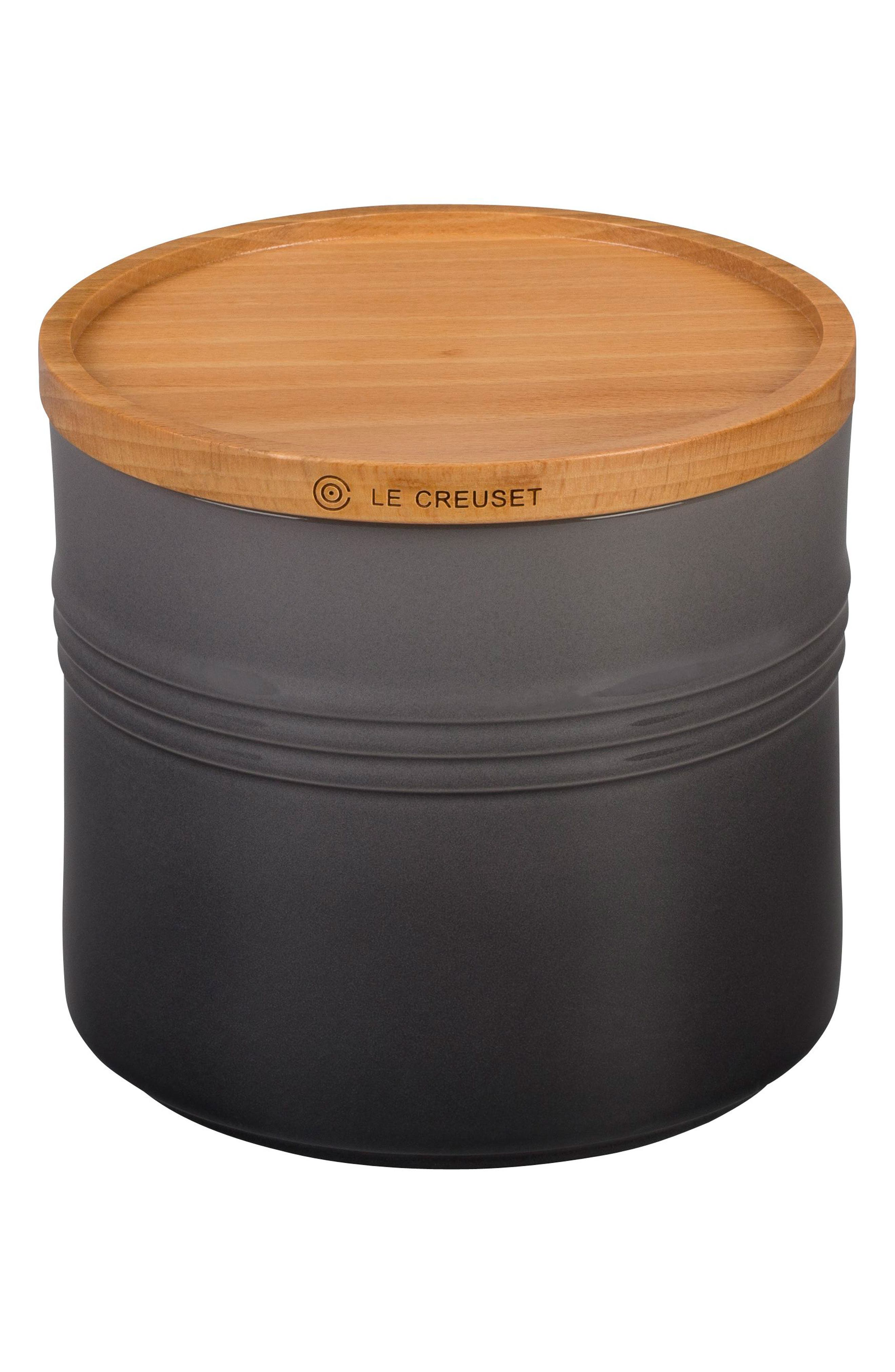 Glazed Stoneware 1 1/2 Quart Storage Canister with Wooden Lid, Main, color, OYSTER