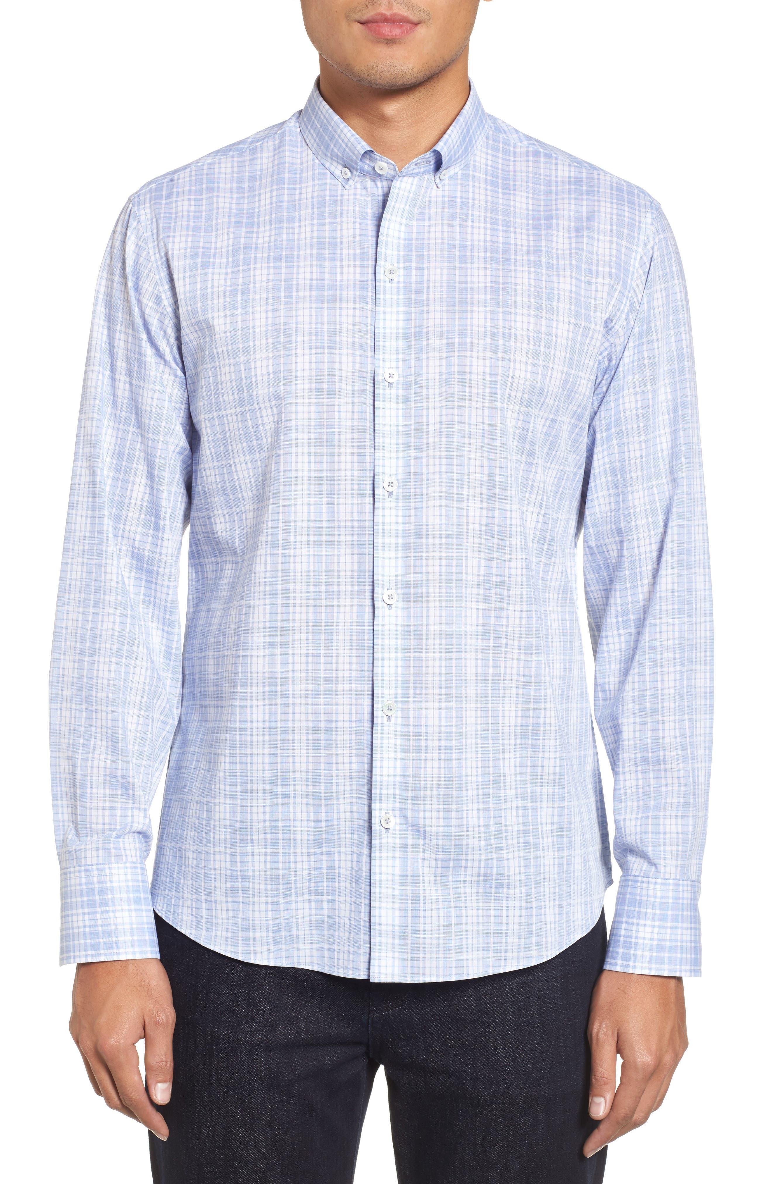 Cochran Slim Fit Plaid Sport Shirt,                             Main thumbnail 1, color,                             BLUE