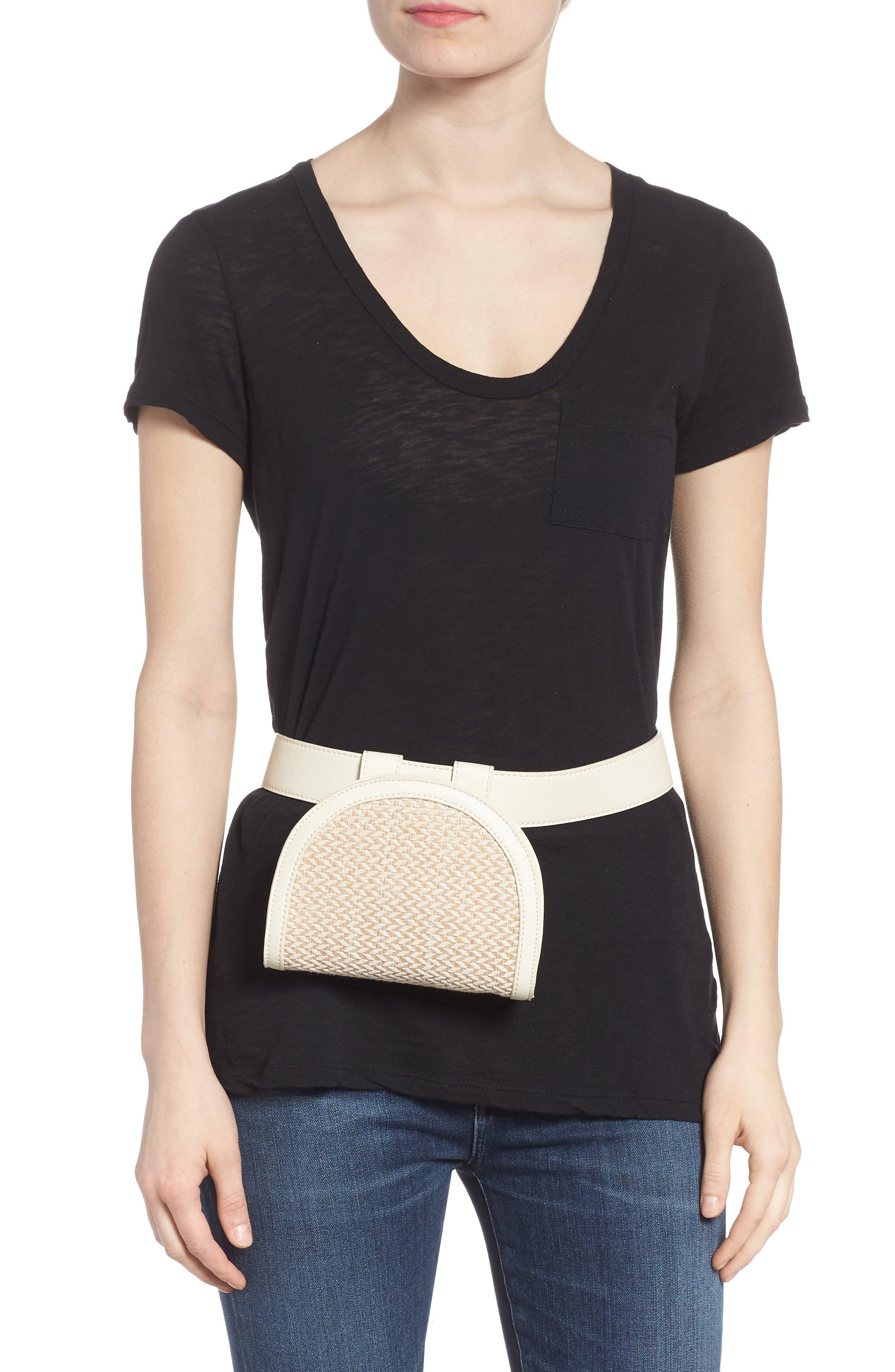 Straw & Faux Leather Belt Bag,                             Alternate thumbnail 2, color,                             250