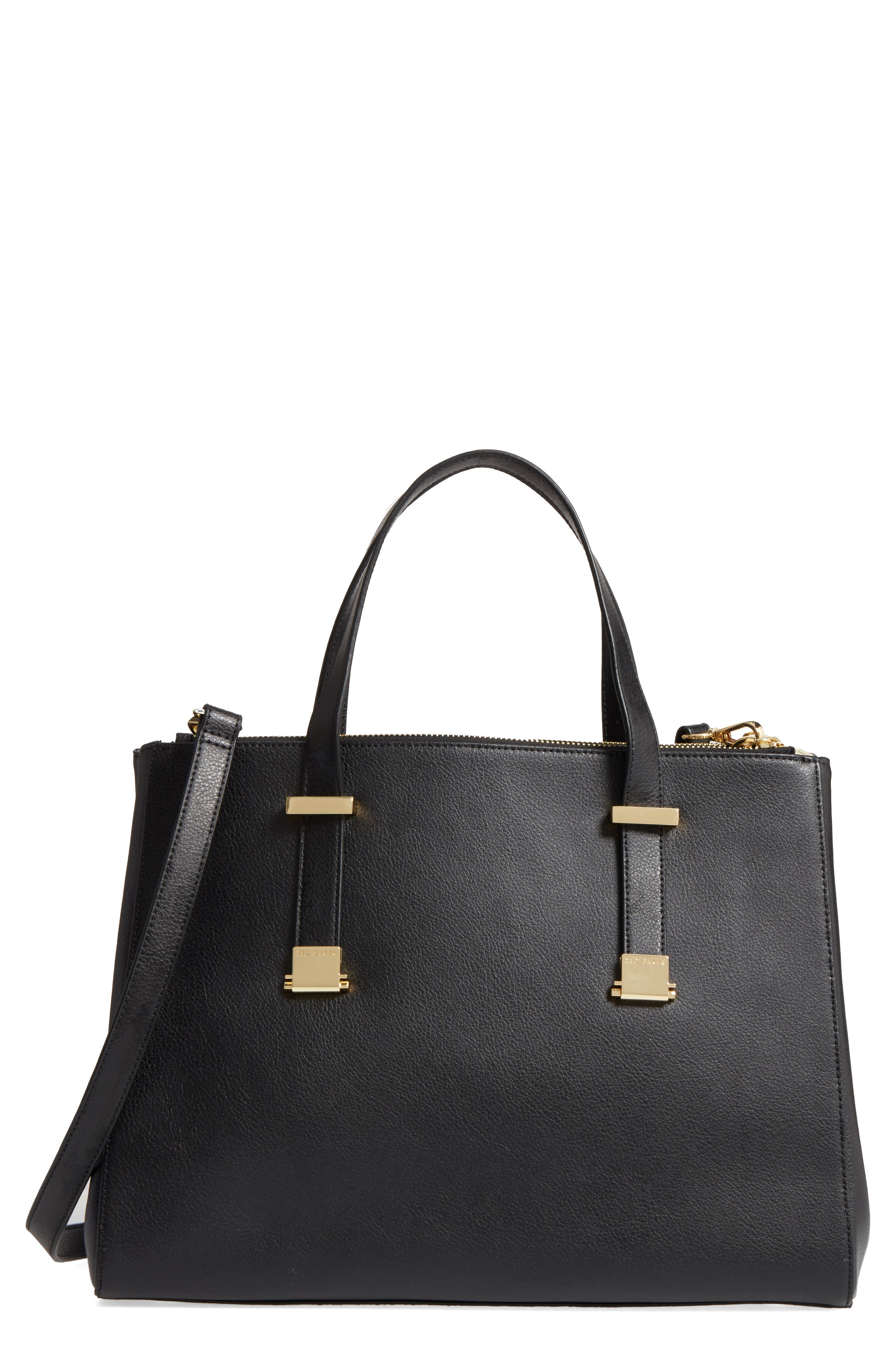Large Alunaa Convertible Leather Tote,                         Main,                         color, 001
