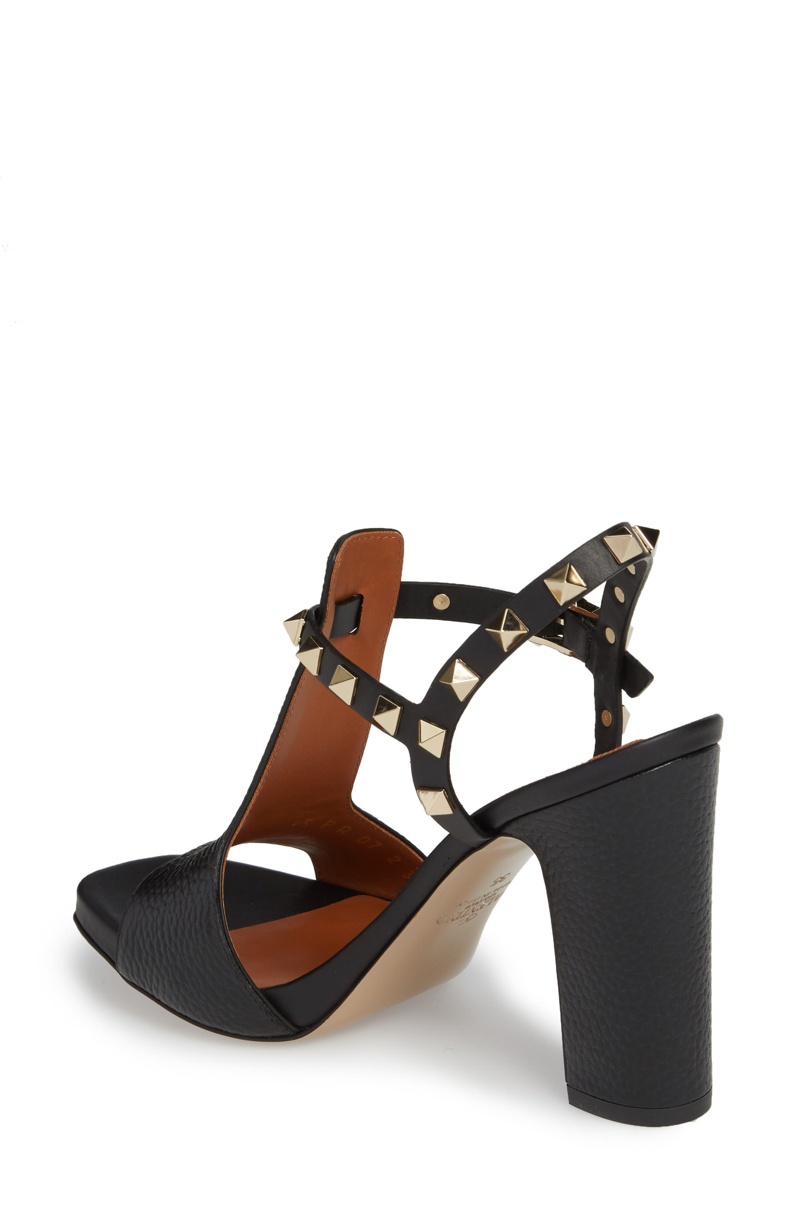 Rockstud T-Strap Sandal,                             Alternate thumbnail 2, color,                             BLACK LEATHER