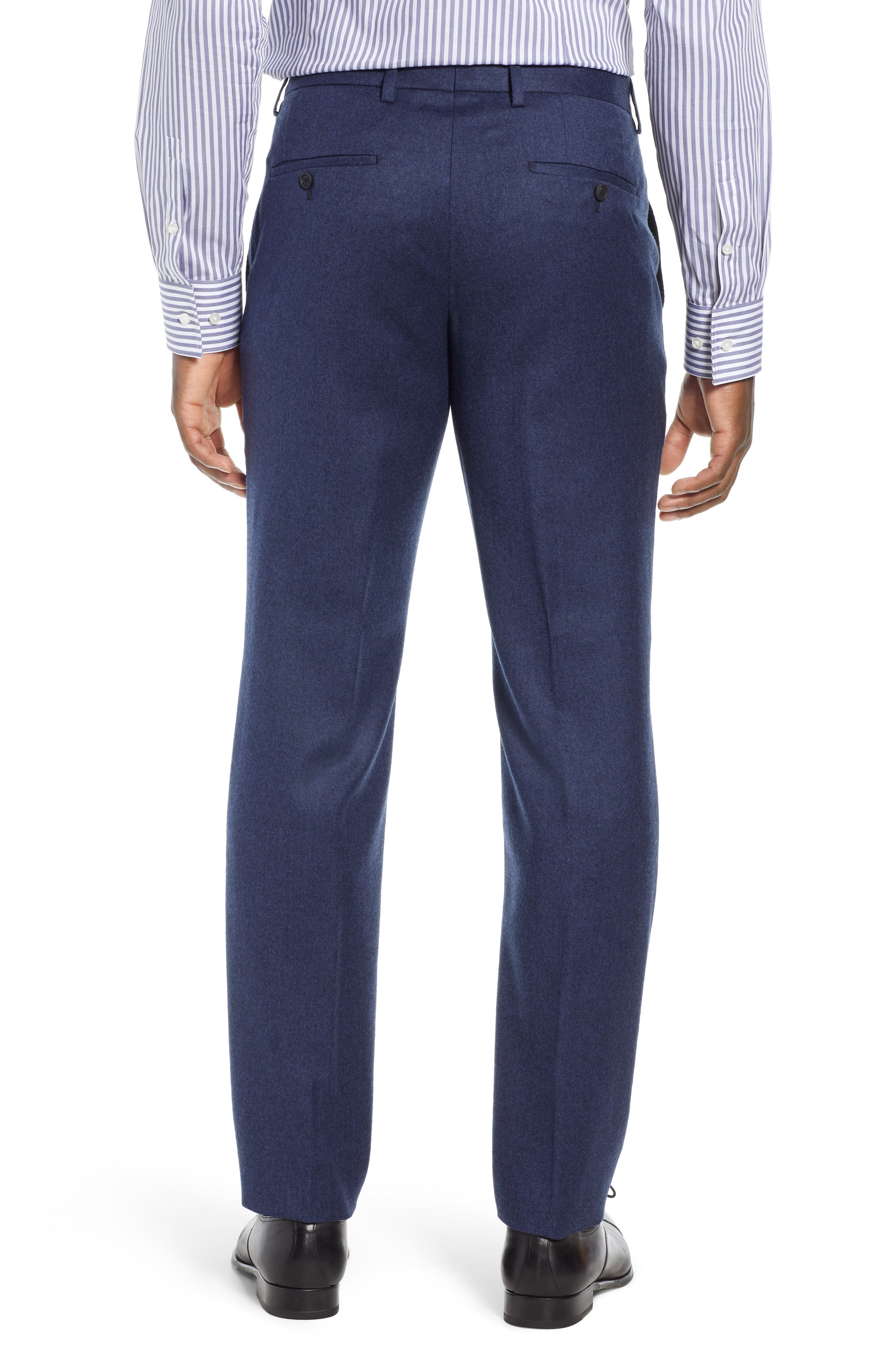 Gains Flat Front Solid Wool Trousers,                             Alternate thumbnail 2, color,                             DARK BLUE