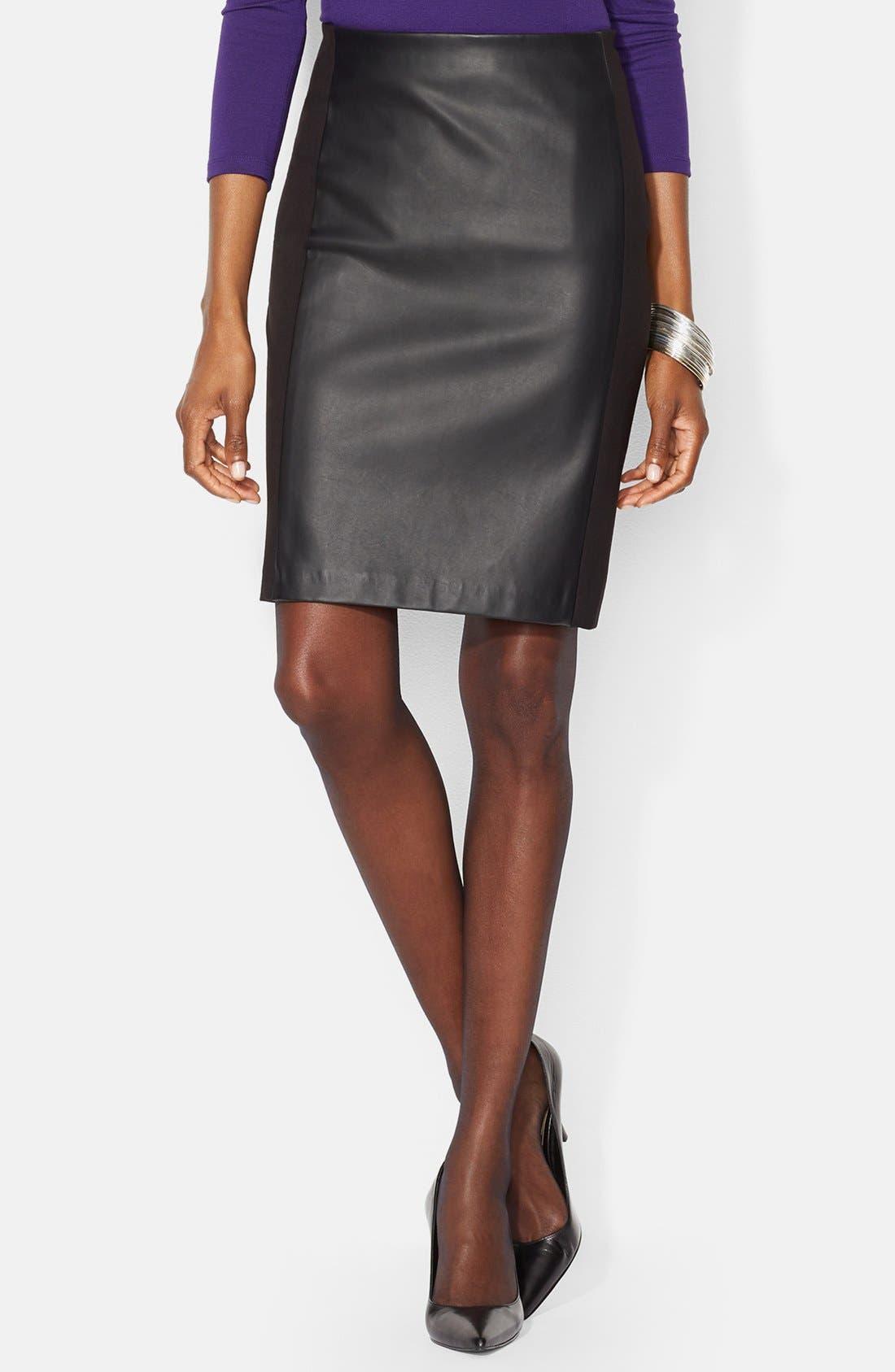 Faux Leather Panel Pencil Skirt,                             Main thumbnail 1, color,                             001