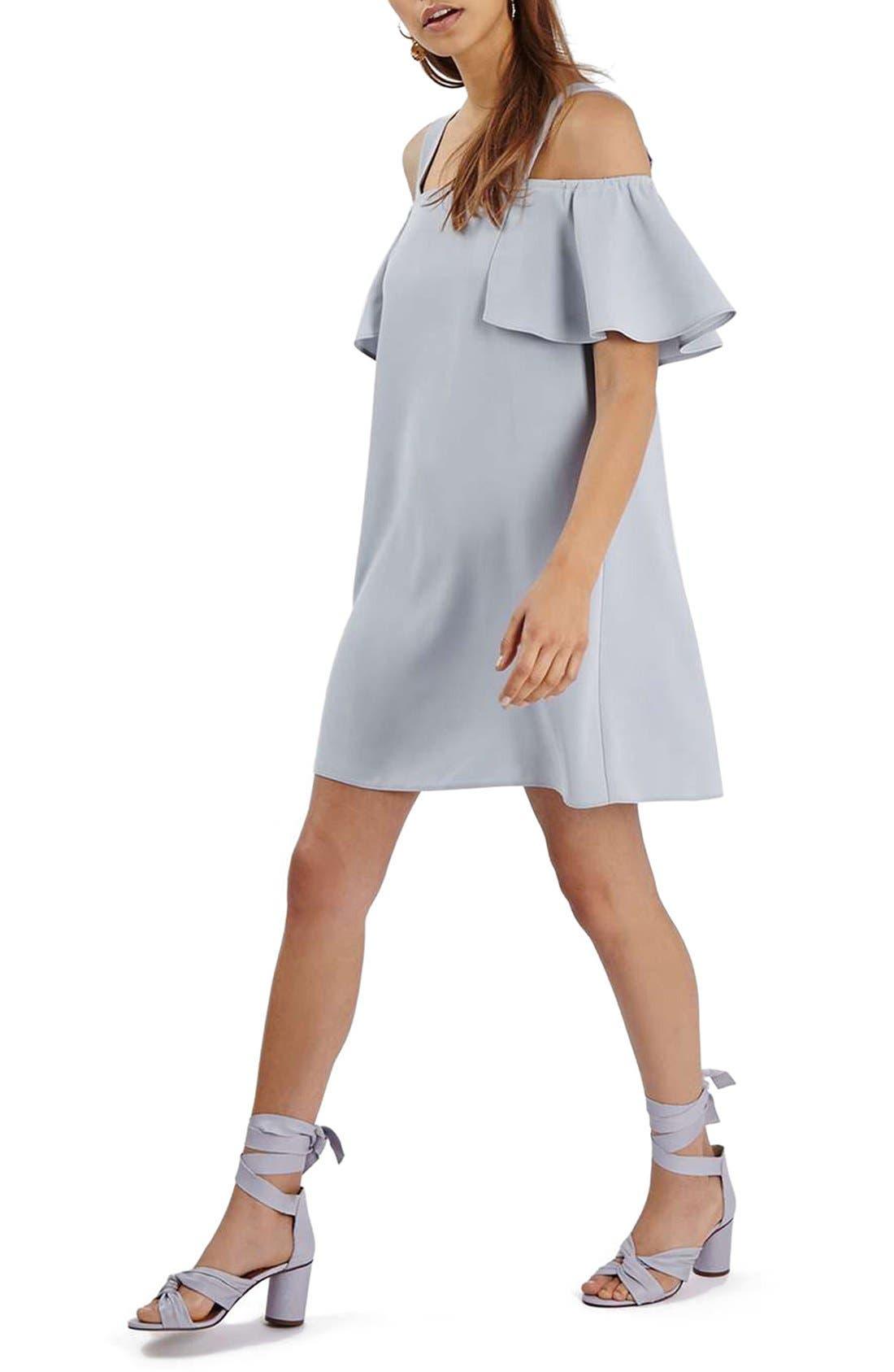 TOPSHOP Cold Shoulder Shift Dress, Main, color, 050