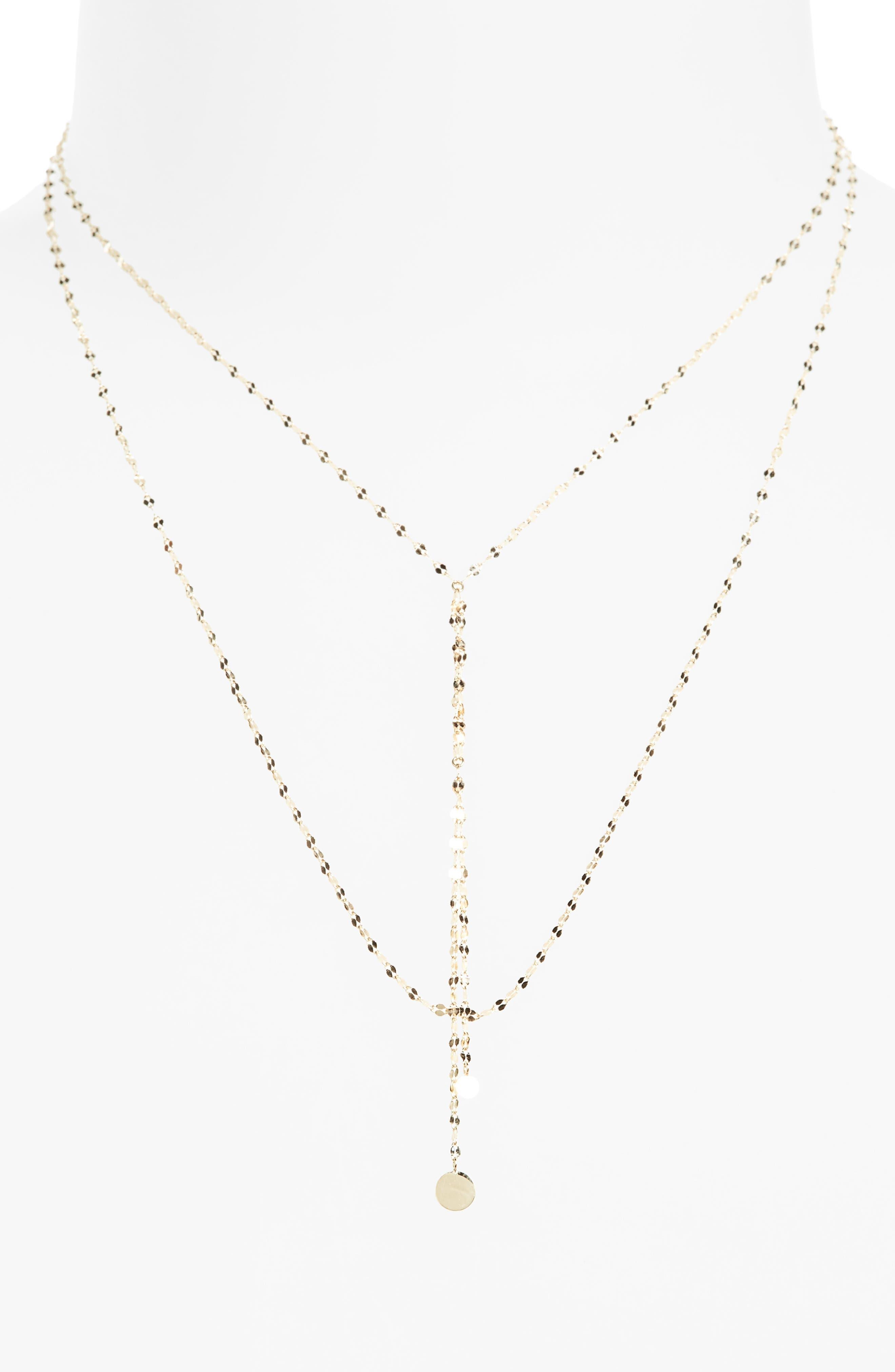 'Petite Blake' Lariat Necklace,                             Main thumbnail 1, color,                             YELLOW GOLD
