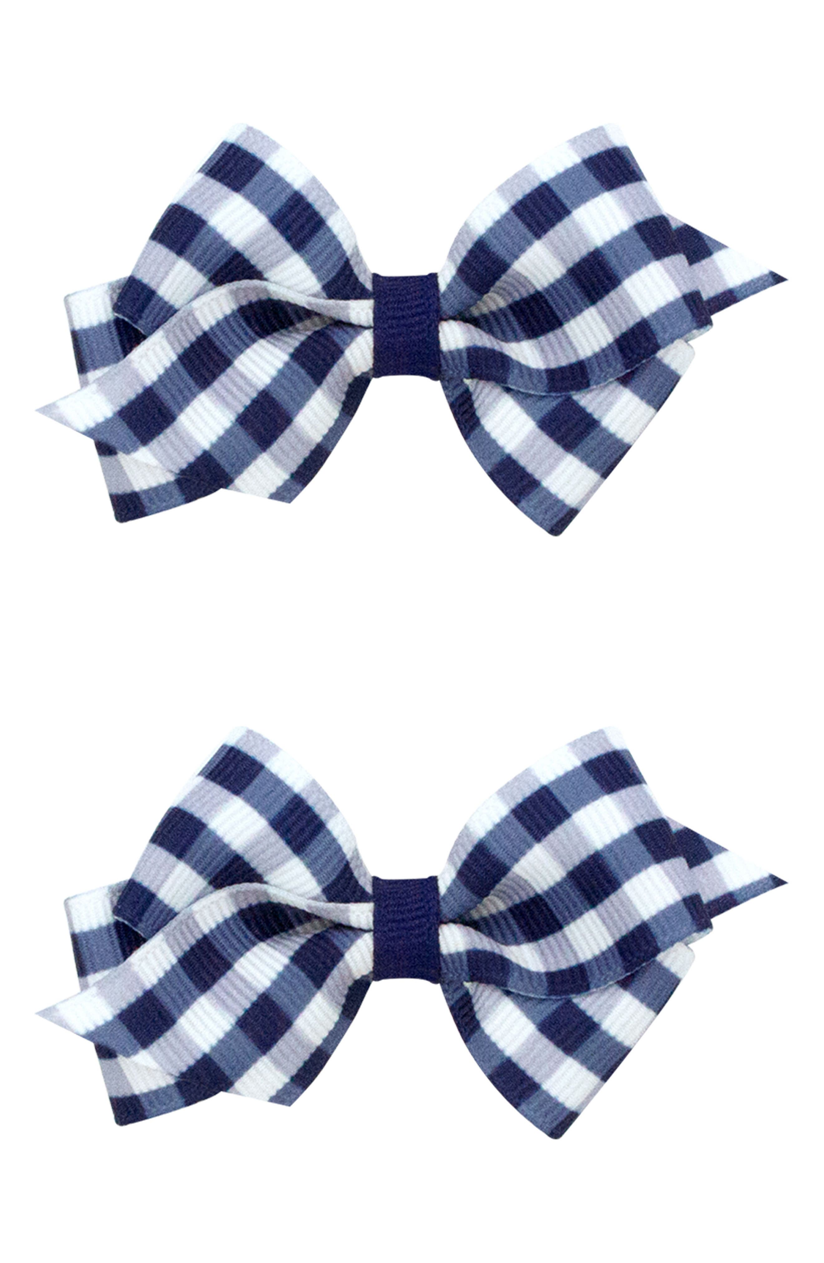 2-Pack Gingham Bow Clips,                             Main thumbnail 1, color,                             NAVY
