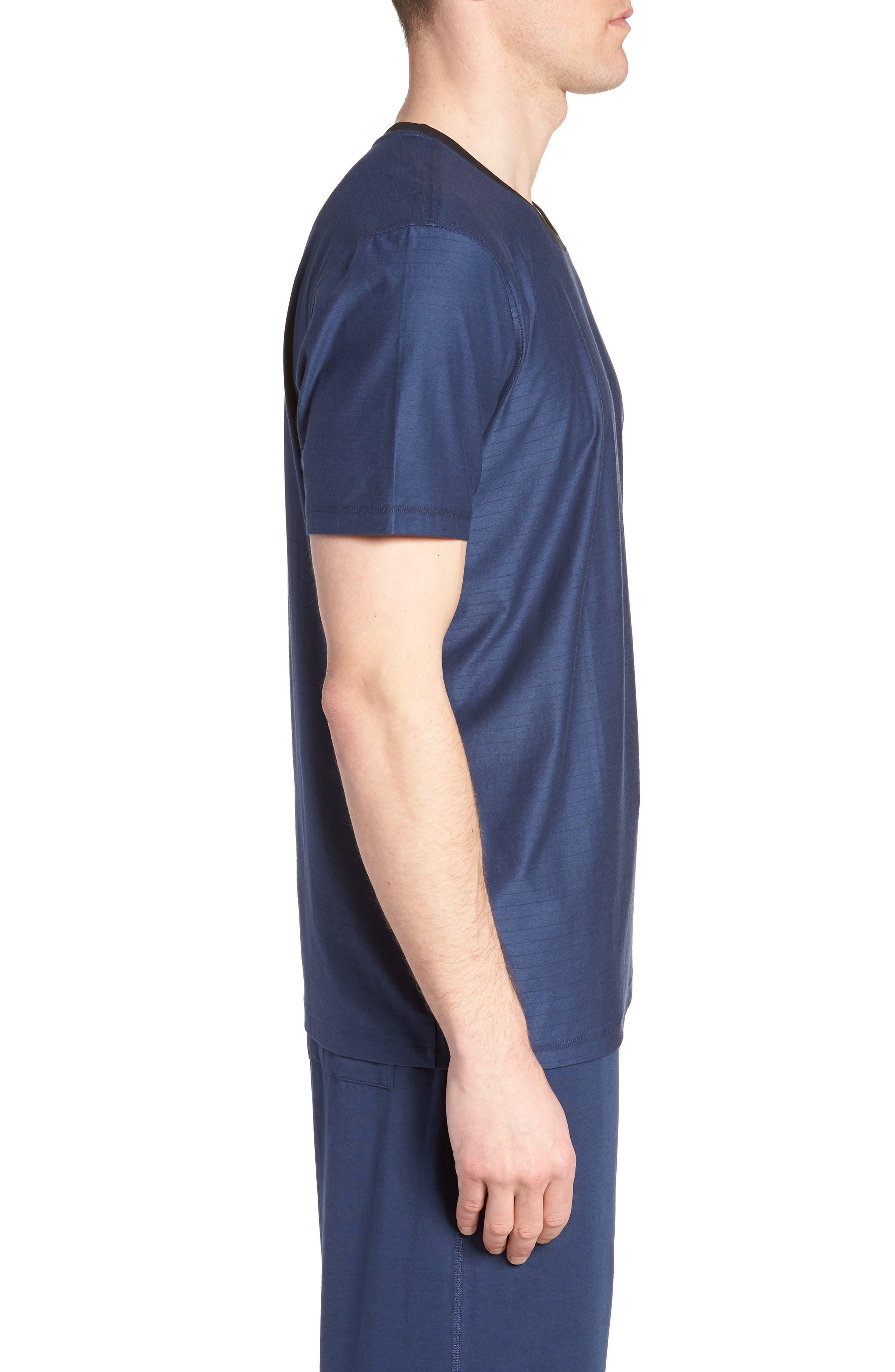 Pima Cotton & Modal Crewneck T-Shirt,                             Alternate thumbnail 3, color,                             NAVY