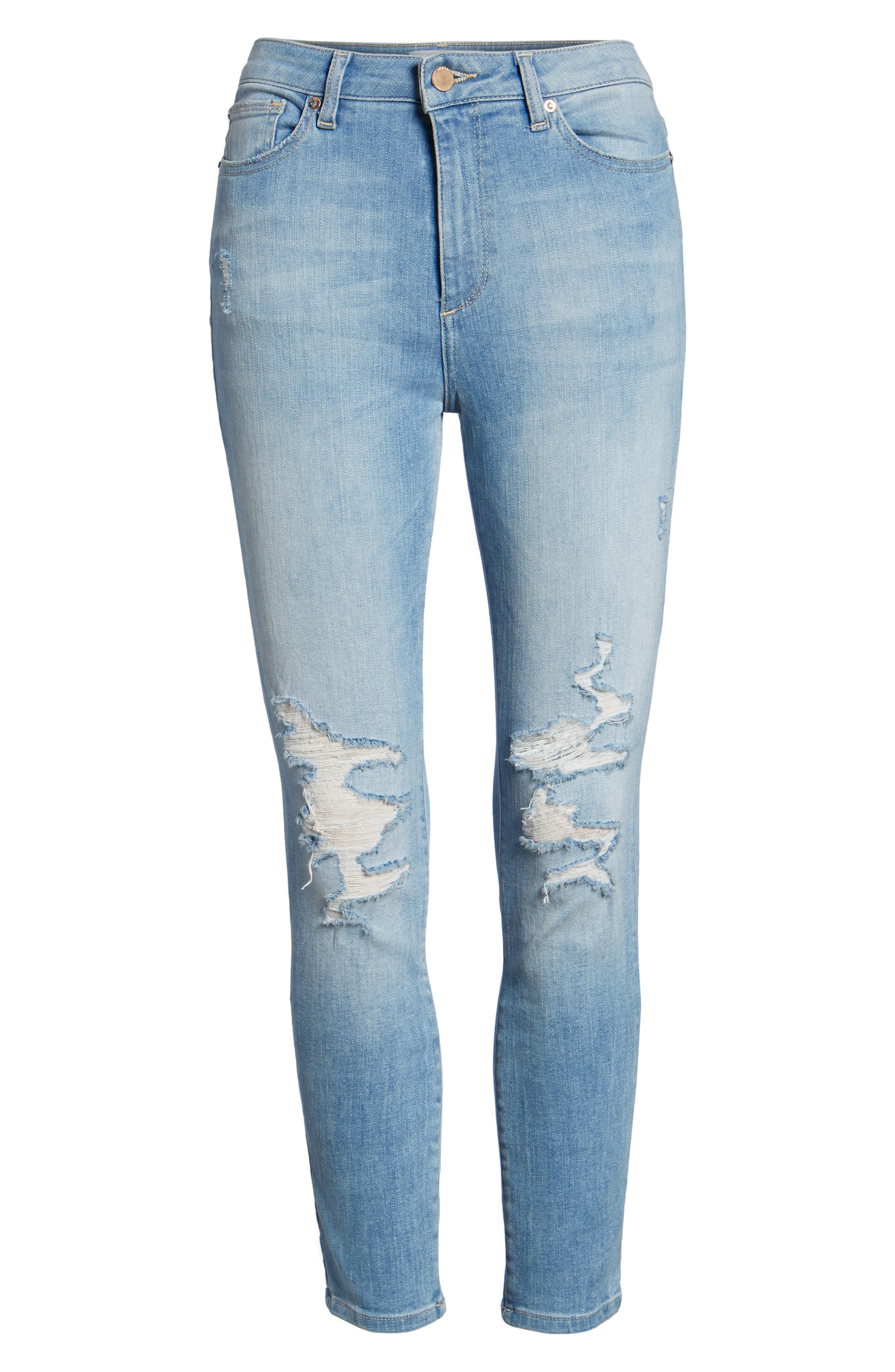 Chrissy Trimtone Ripped High Waist Skinny Jeans,                             Alternate thumbnail 7, color,                             430