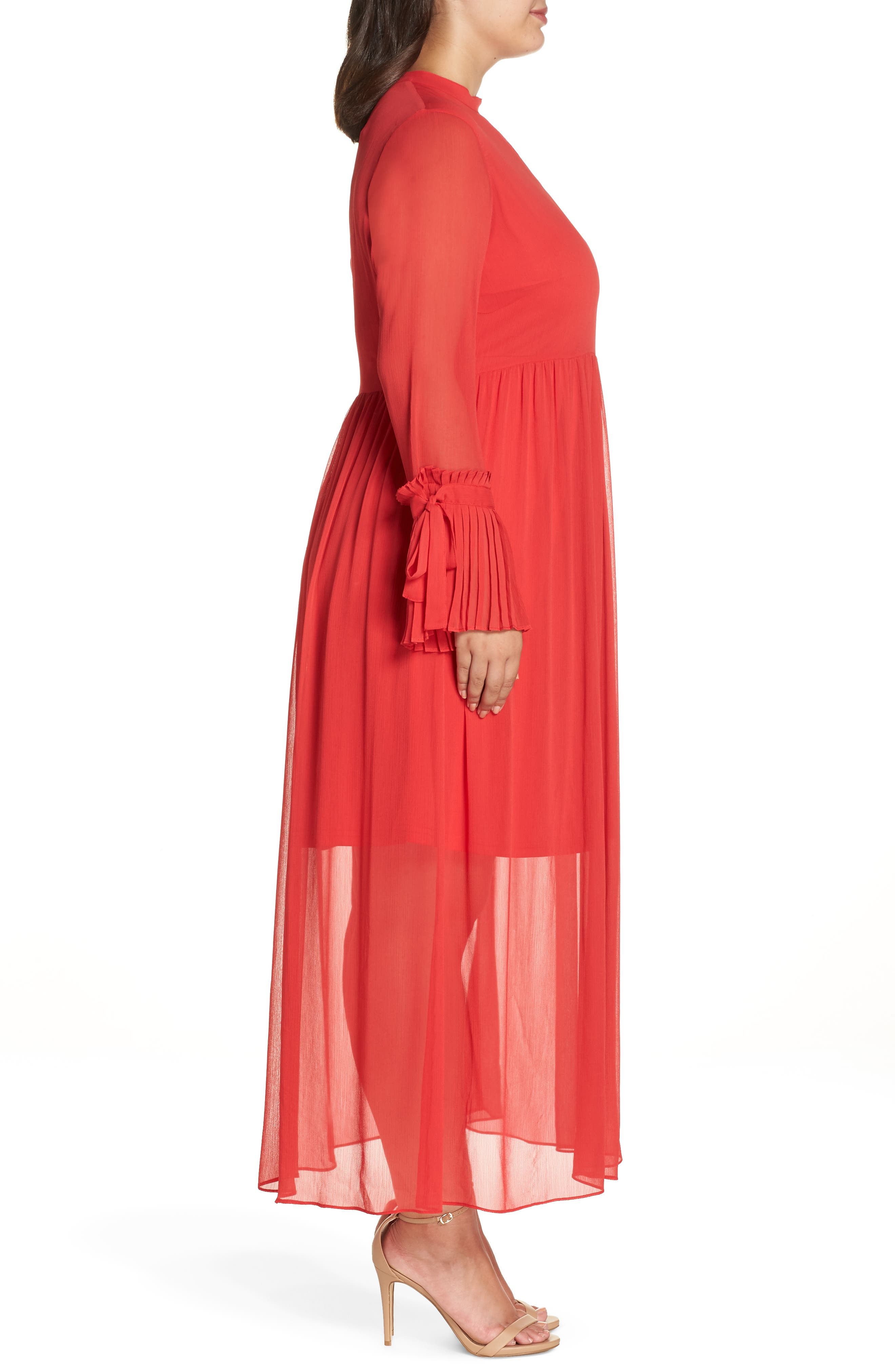 Pleated Maxi Dress,                             Alternate thumbnail 3, color,                             PINK