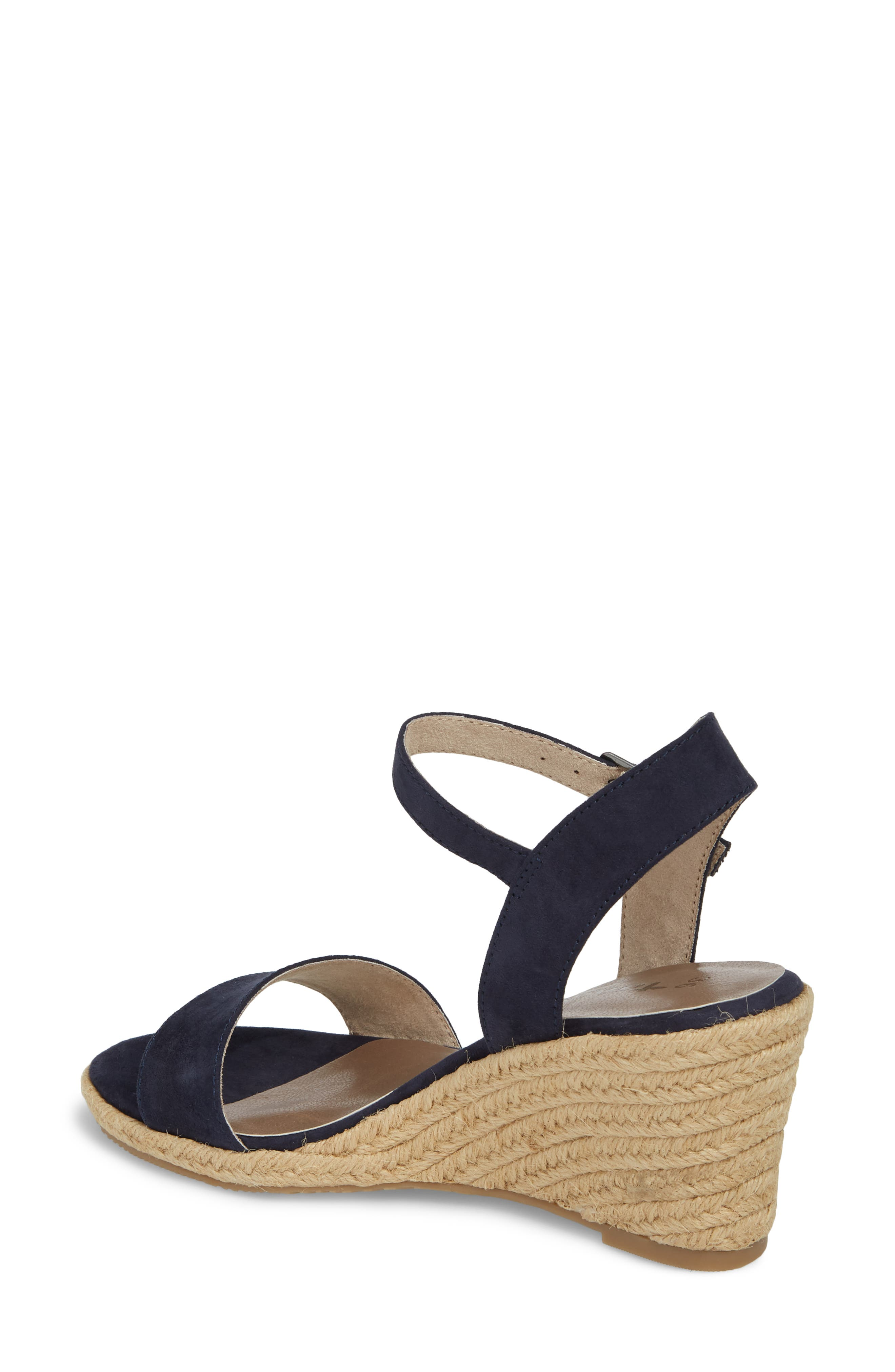 Livia Espadrille Wedge Sandal,                             Alternate thumbnail 2, color,                             NAVY FABRIC