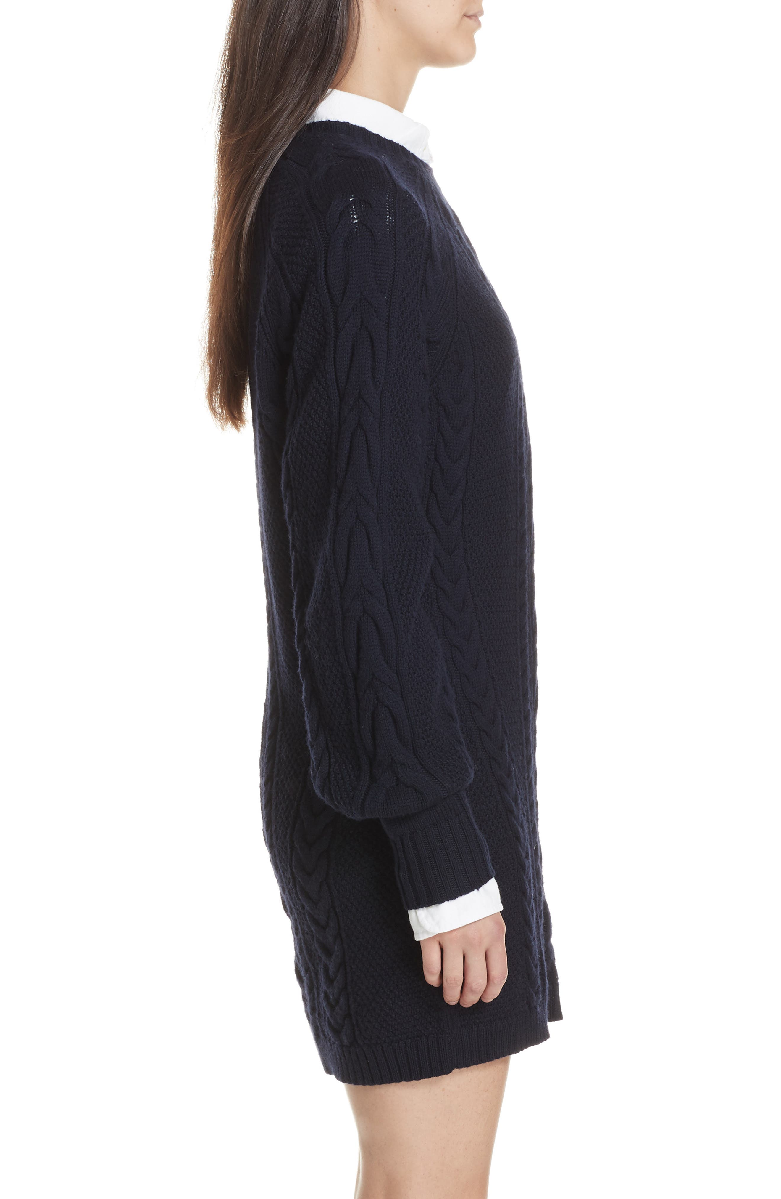 Cable Sweater Dress,                             Alternate thumbnail 4, color,                             410