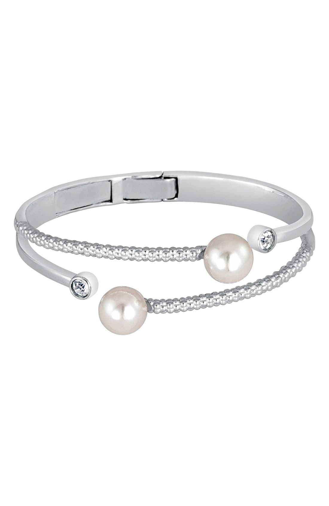 10mm Simulated Round Pearl Cuff,                             Main thumbnail 1, color,                             WHITE