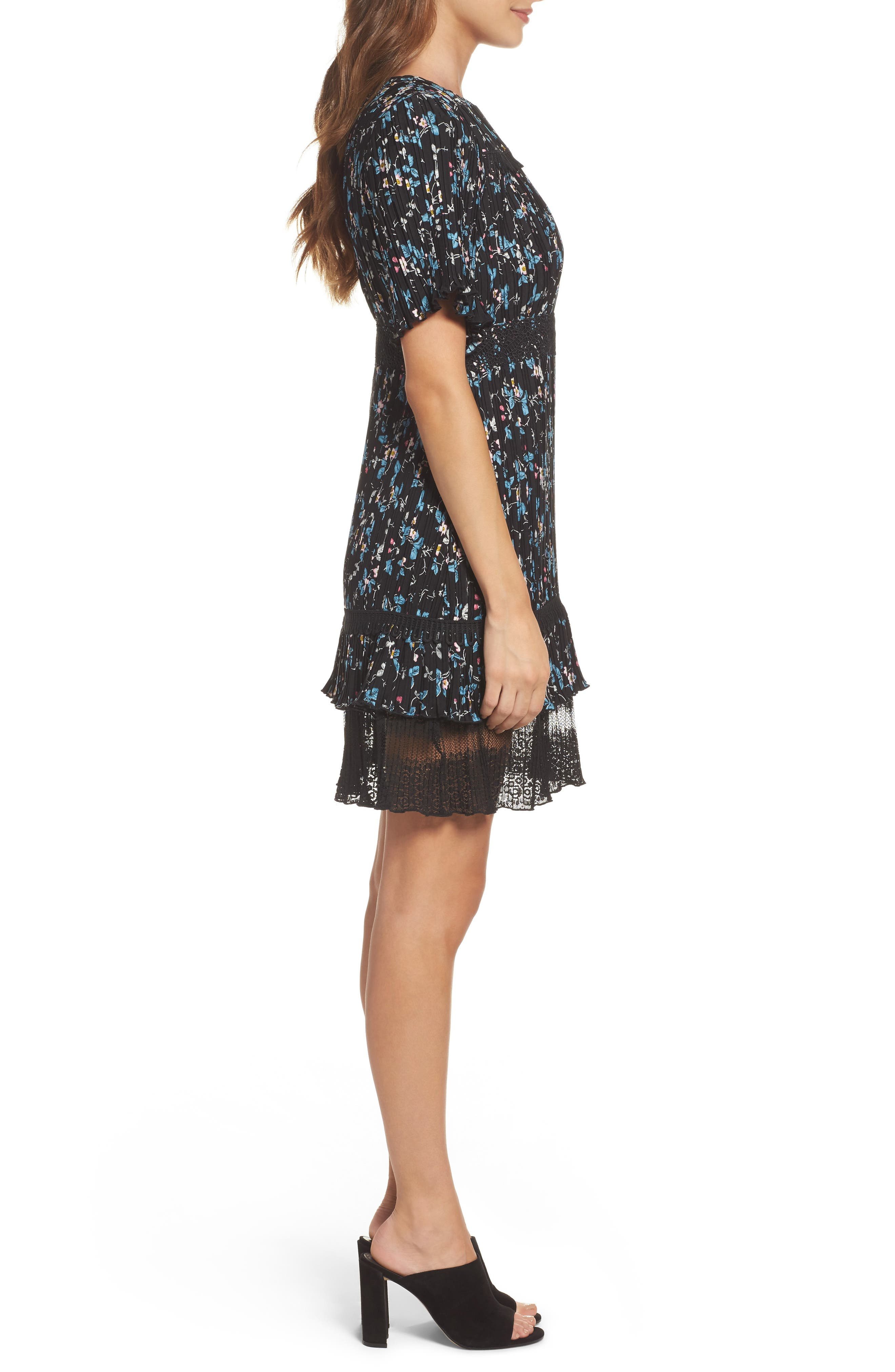 Pleated Lace Dress,                             Alternate thumbnail 3, color,                             001