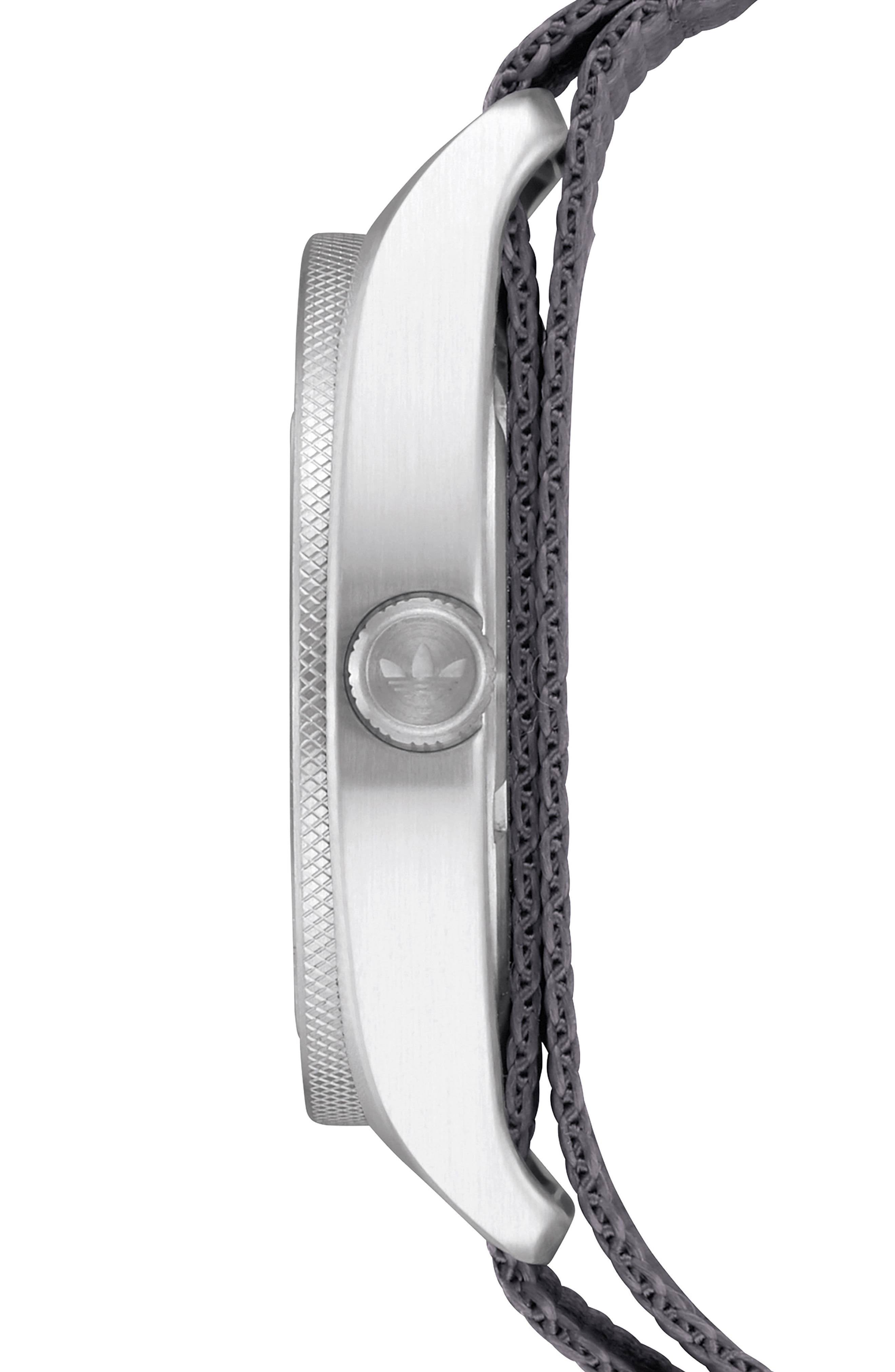 Process NATO Strap Watch, 38mm,                             Alternate thumbnail 3, color,                             GREY/ BLACK/ SILVER