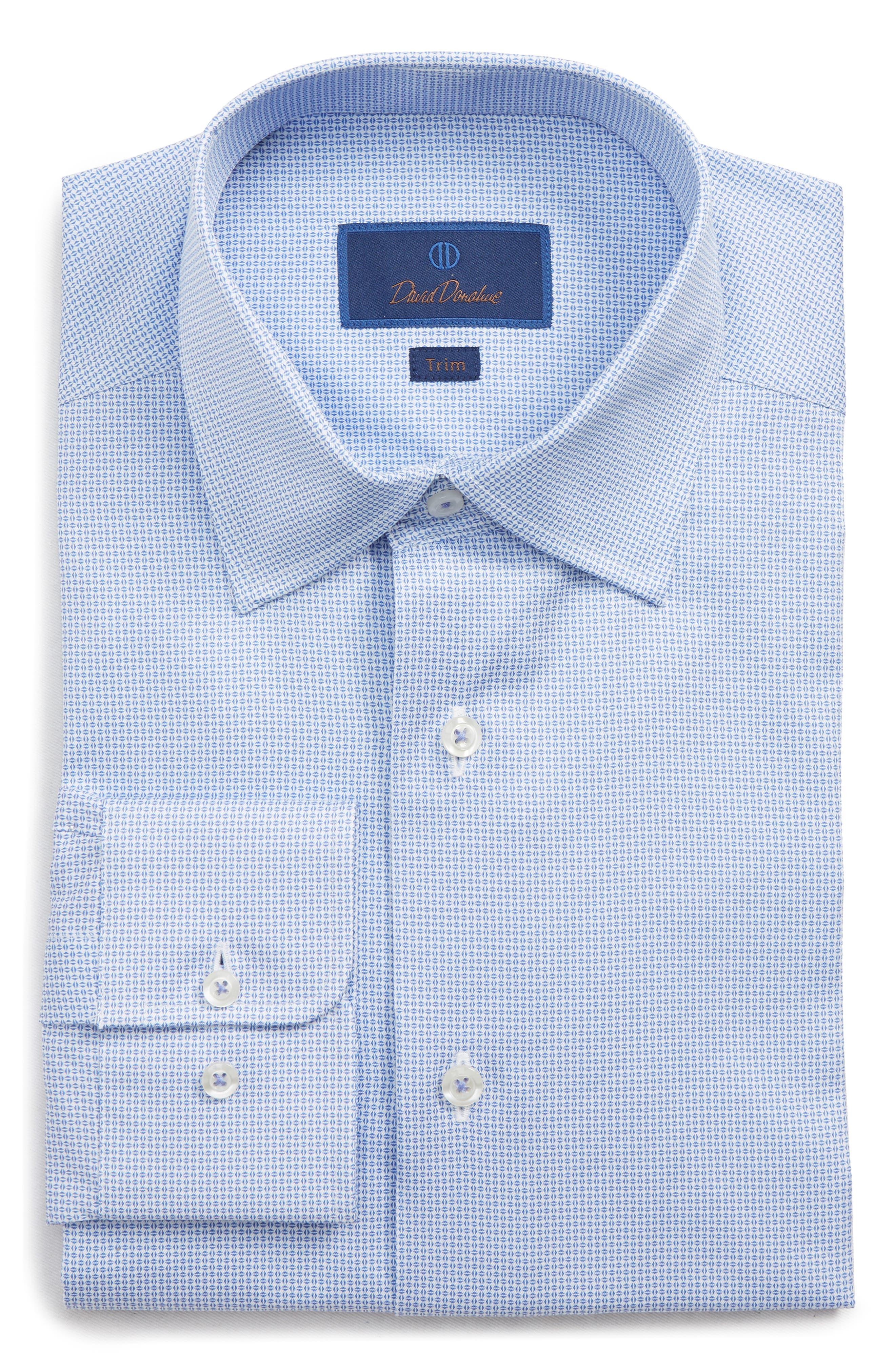 DAVID DONAHUE Men'S Trim-Fit Geometric-Pattern Dress Shirt in White/ Blue
