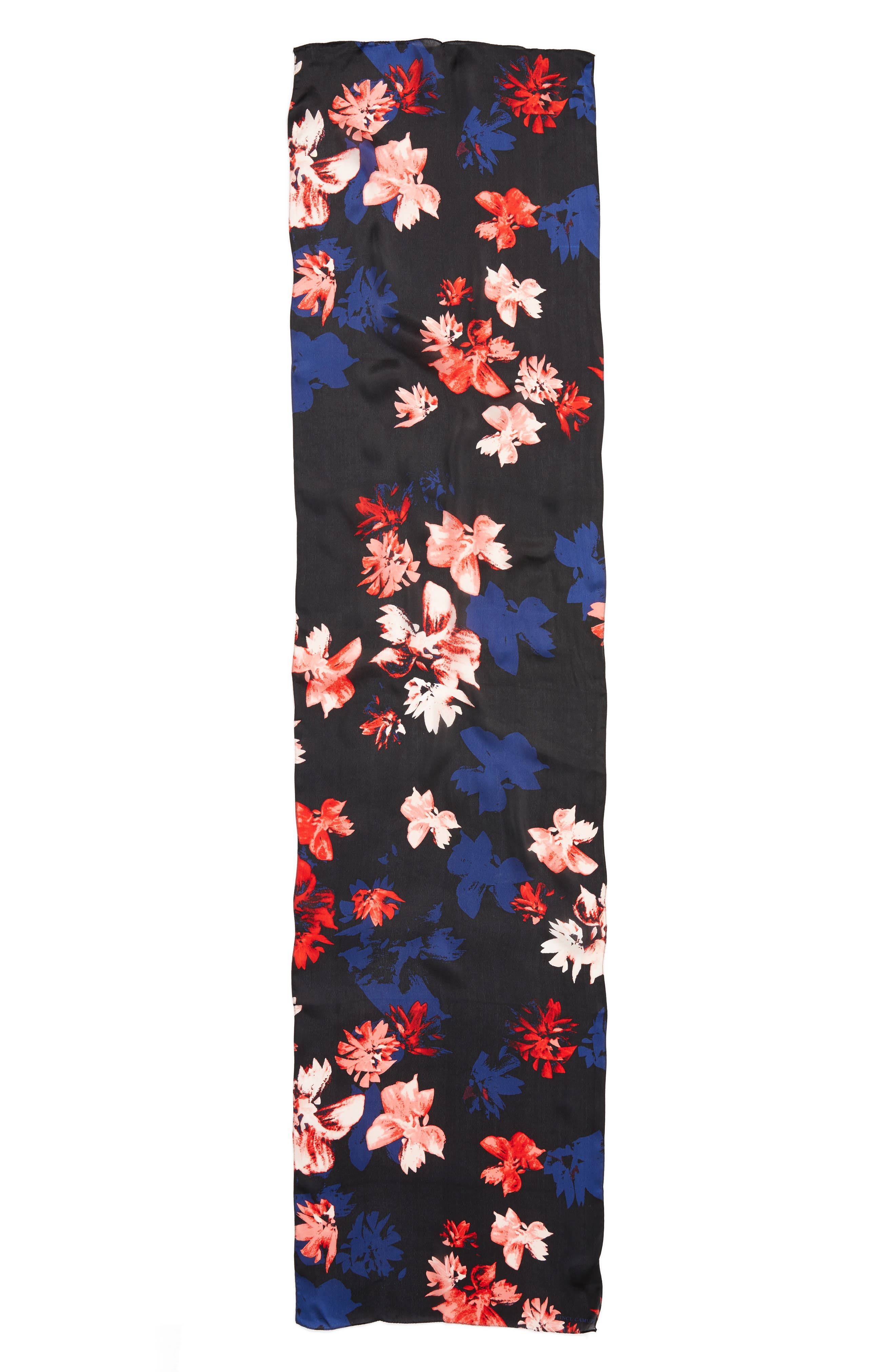 Floral Print Brushed Silk Scarf,                             Alternate thumbnail 3, color,                             001