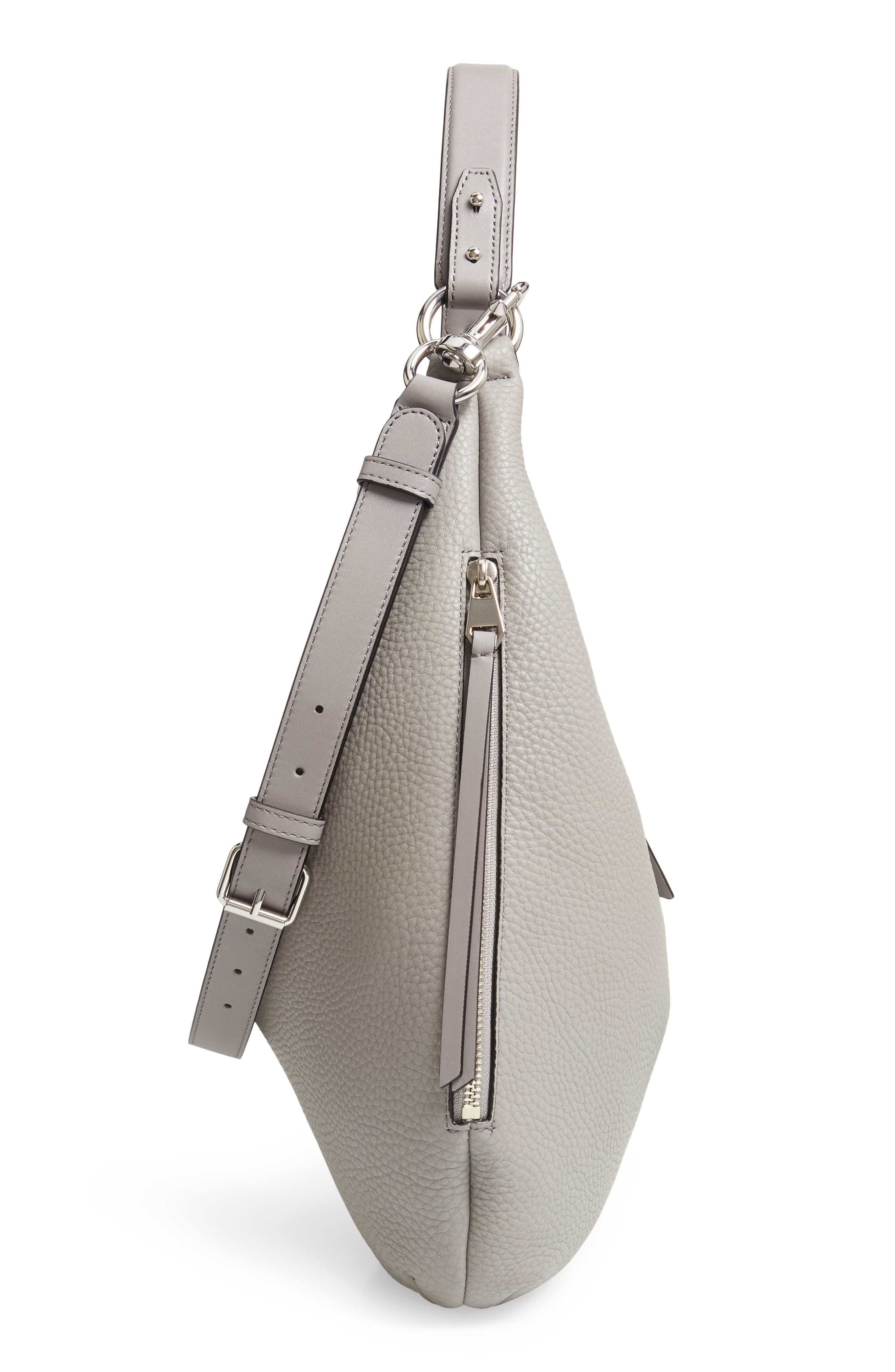 Michelle Leather Hobo,                             Alternate thumbnail 6, color,                             GREY