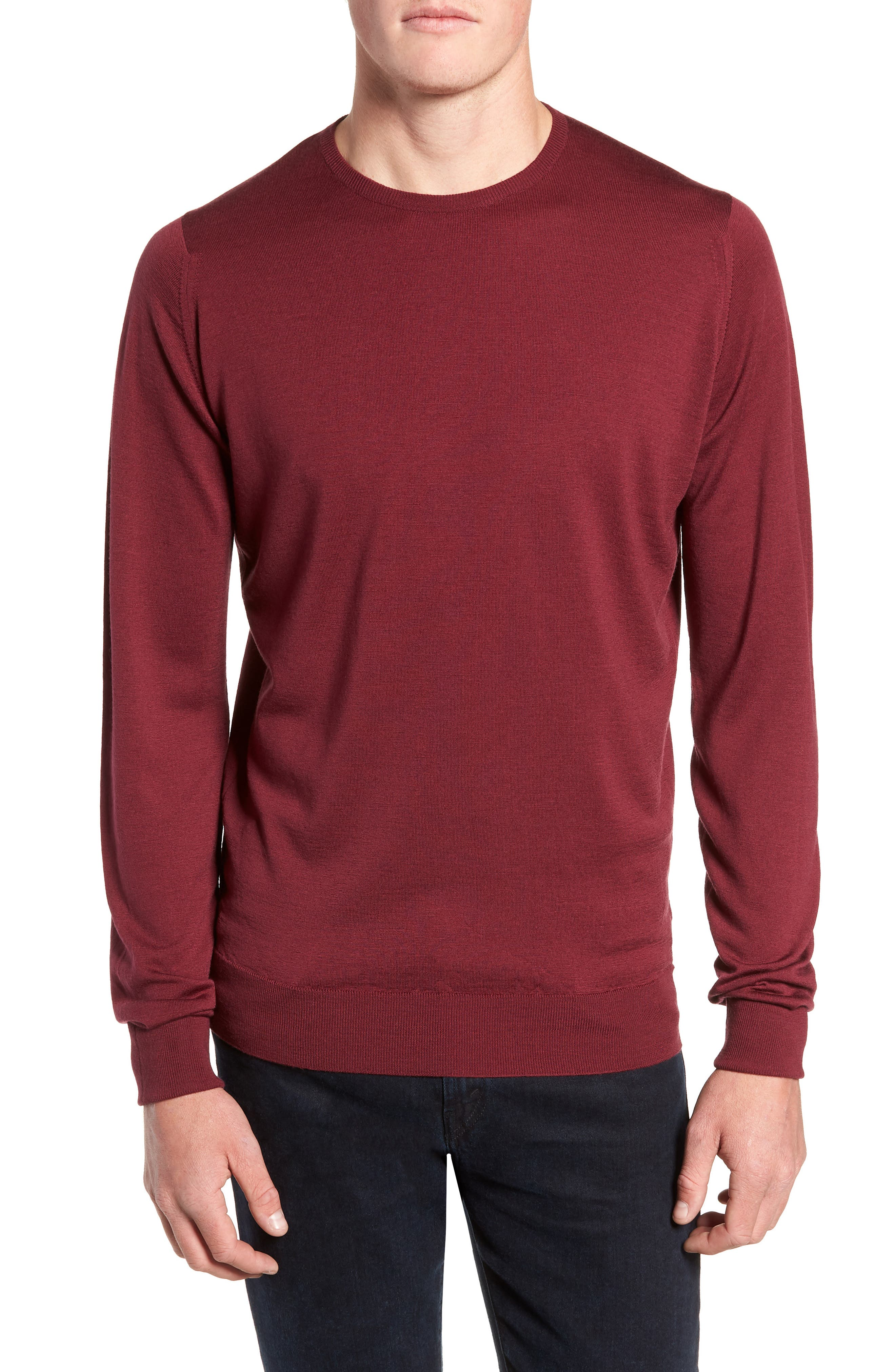 'Marcus' Easy Fit Crewneck Wool Sweater,                         Main,                         color, BOREDAUX