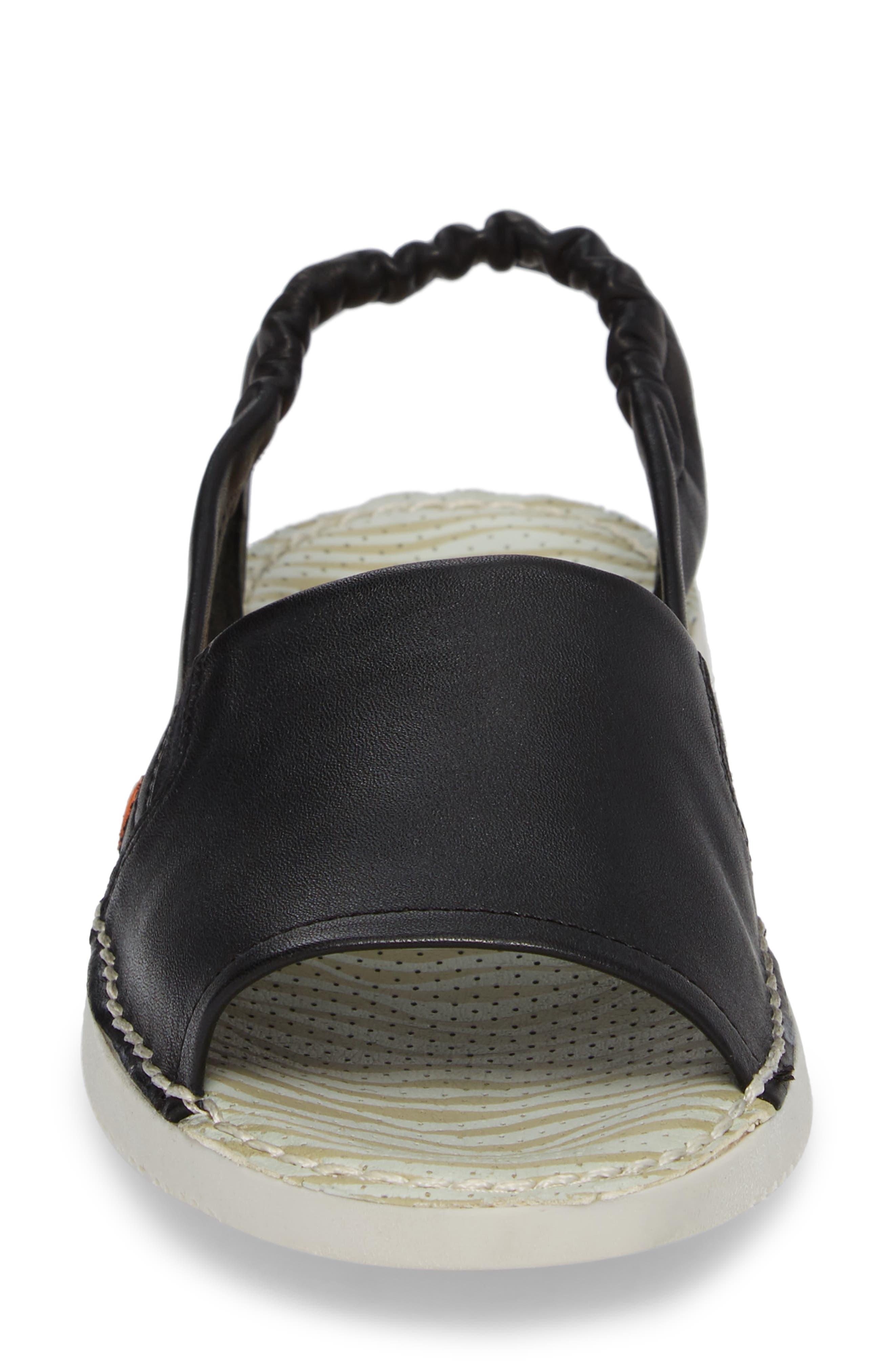 Tee Flat Sandal,                             Alternate thumbnail 4, color,                             BLACK LEATHER