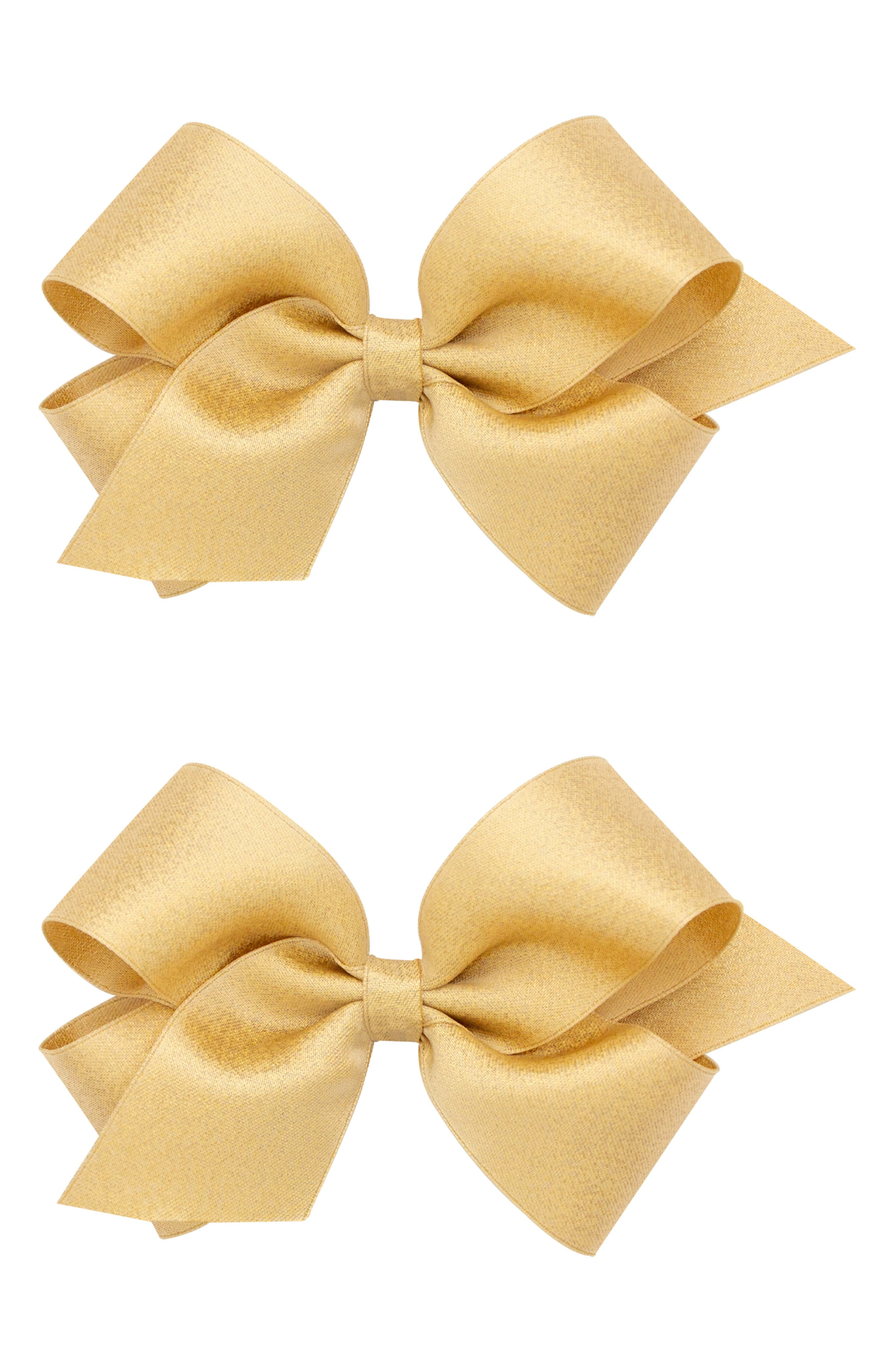 2-Pack Satin Hair Clips,                             Alternate thumbnail 2, color,                             CHAMPAGNE