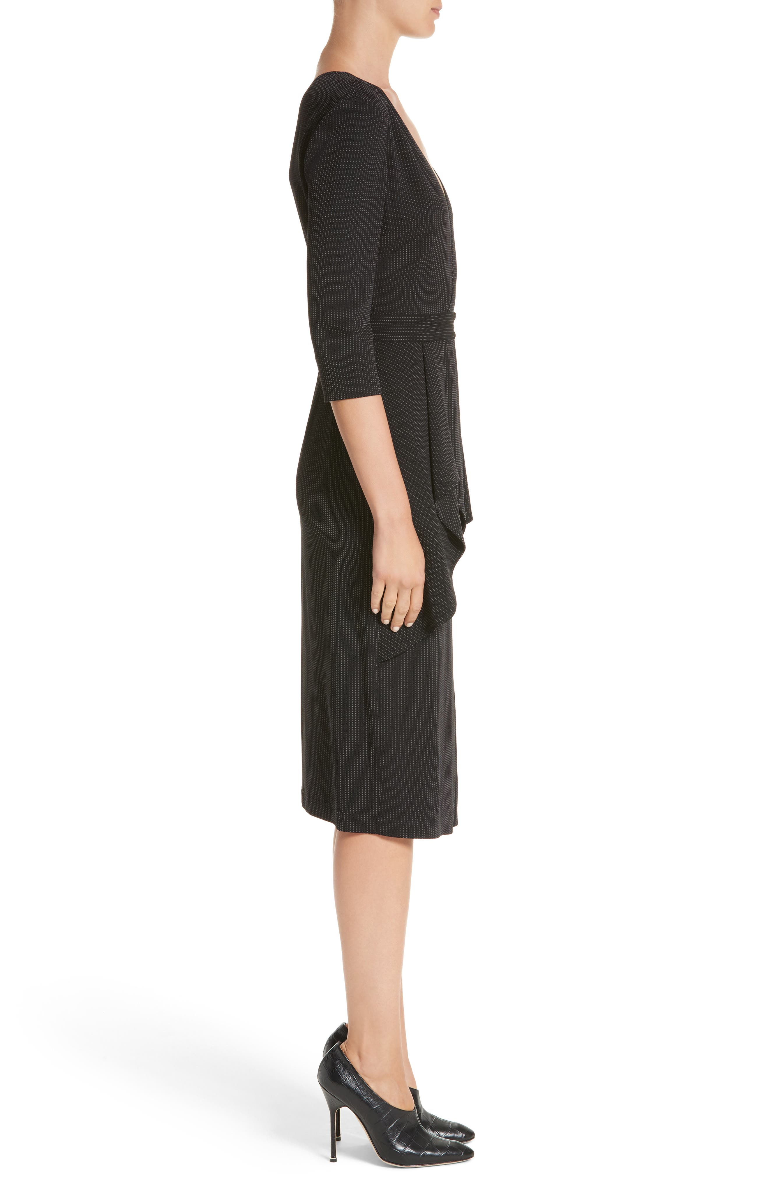 Jason Wu Pinstripe Jersey Sheath Dress,                             Alternate thumbnail 3, color,                             012
