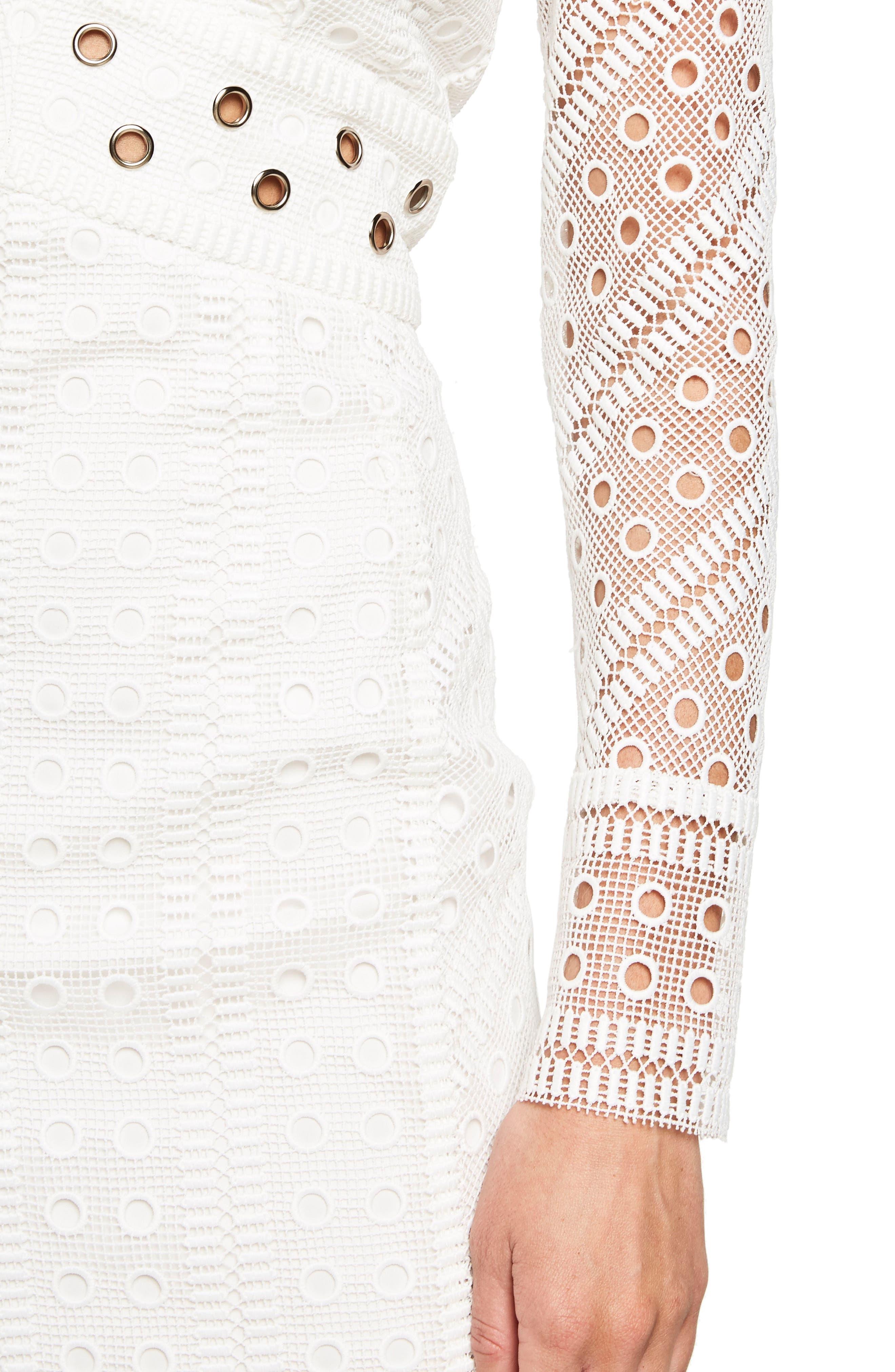 Grommet Detail Broderie Anglaise Dress,                             Alternate thumbnail 4, color,                             900