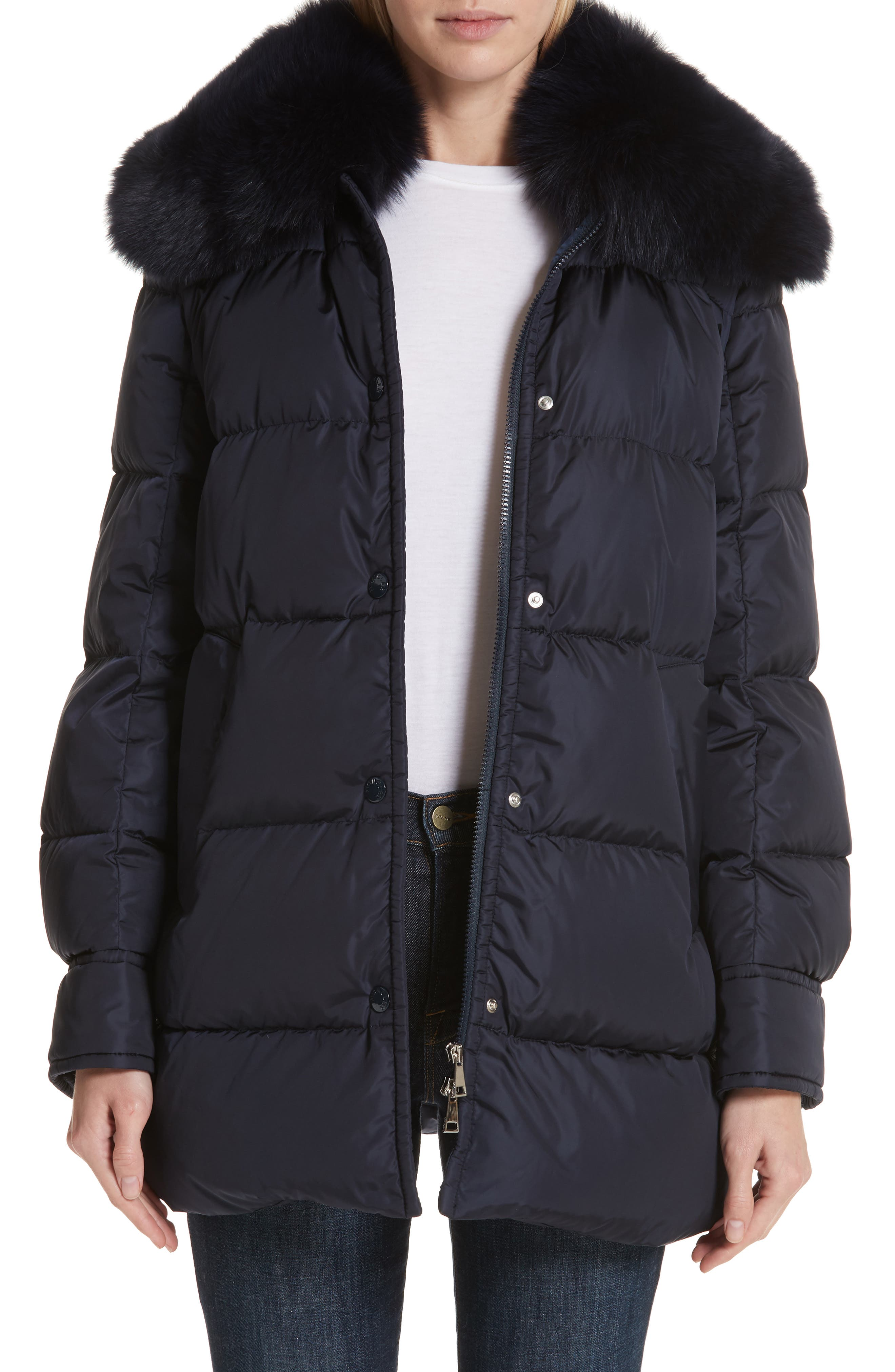 Mesange Quilted Down Coat with Removable Genuine Fox Fur Collar,                             Main thumbnail 1, color,                             NAVY