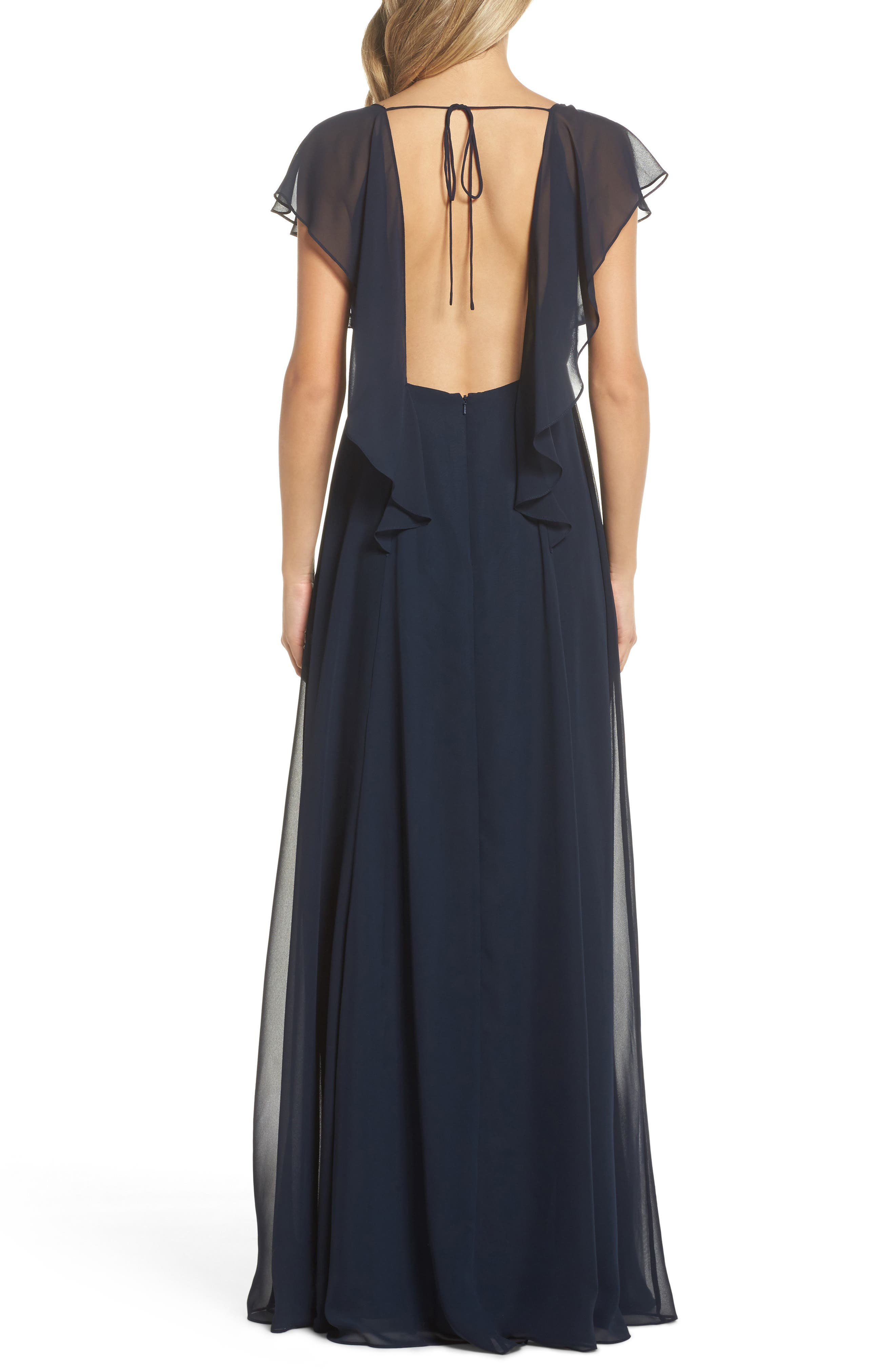Alanna Open Back Chiffon Gown,                             Alternate thumbnail 2, color,                             NAVY