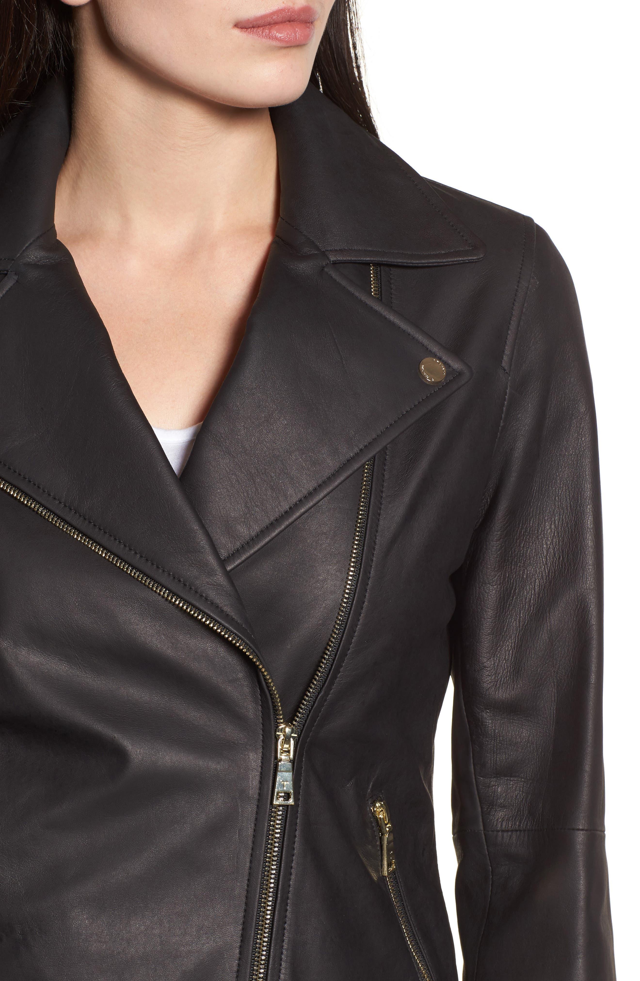 Skylar Leather Moto Jacket,                             Alternate thumbnail 4, color,                             001