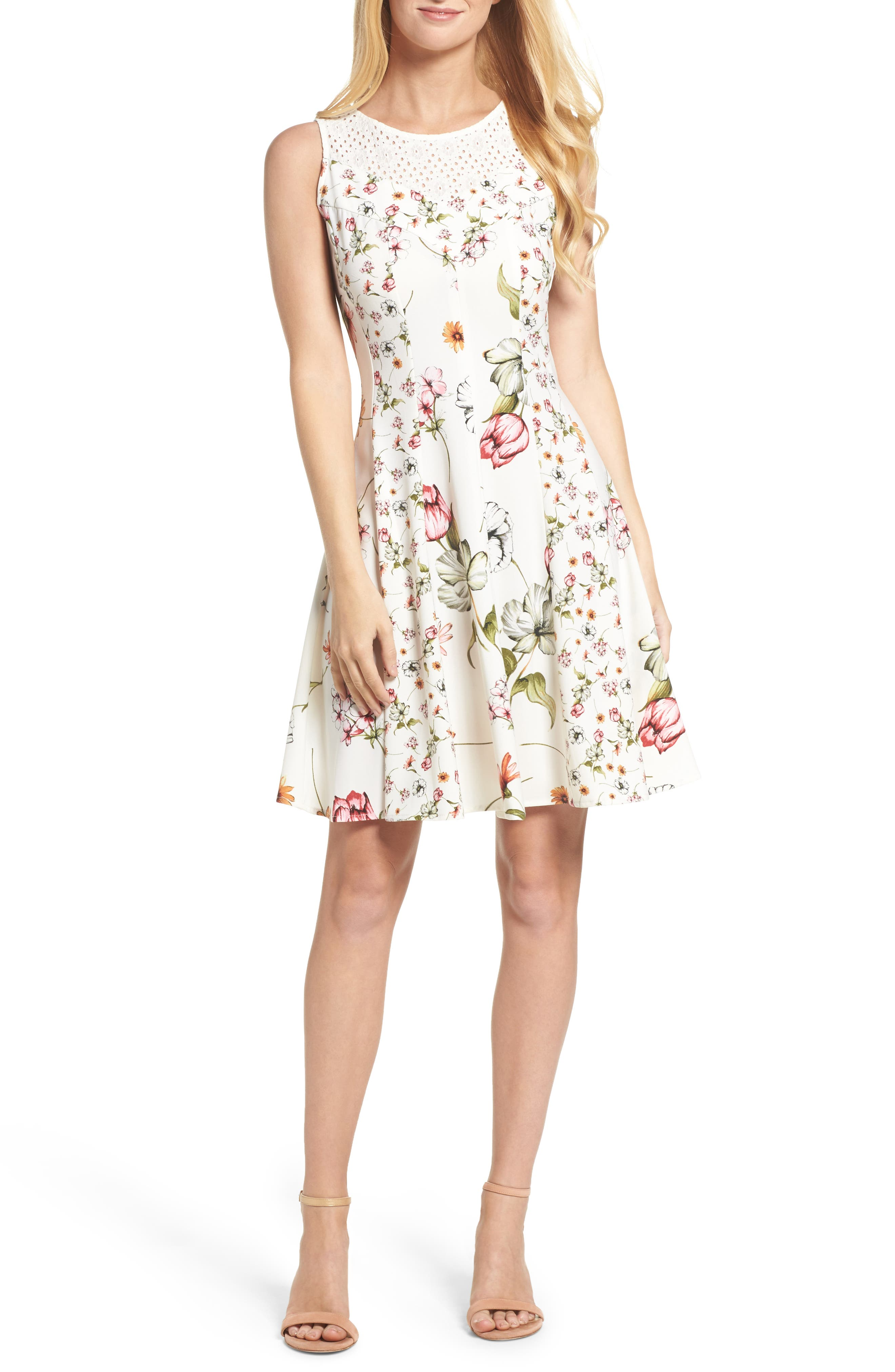 Floral Fit & Flare Dress,                             Main thumbnail 1, color,                             901