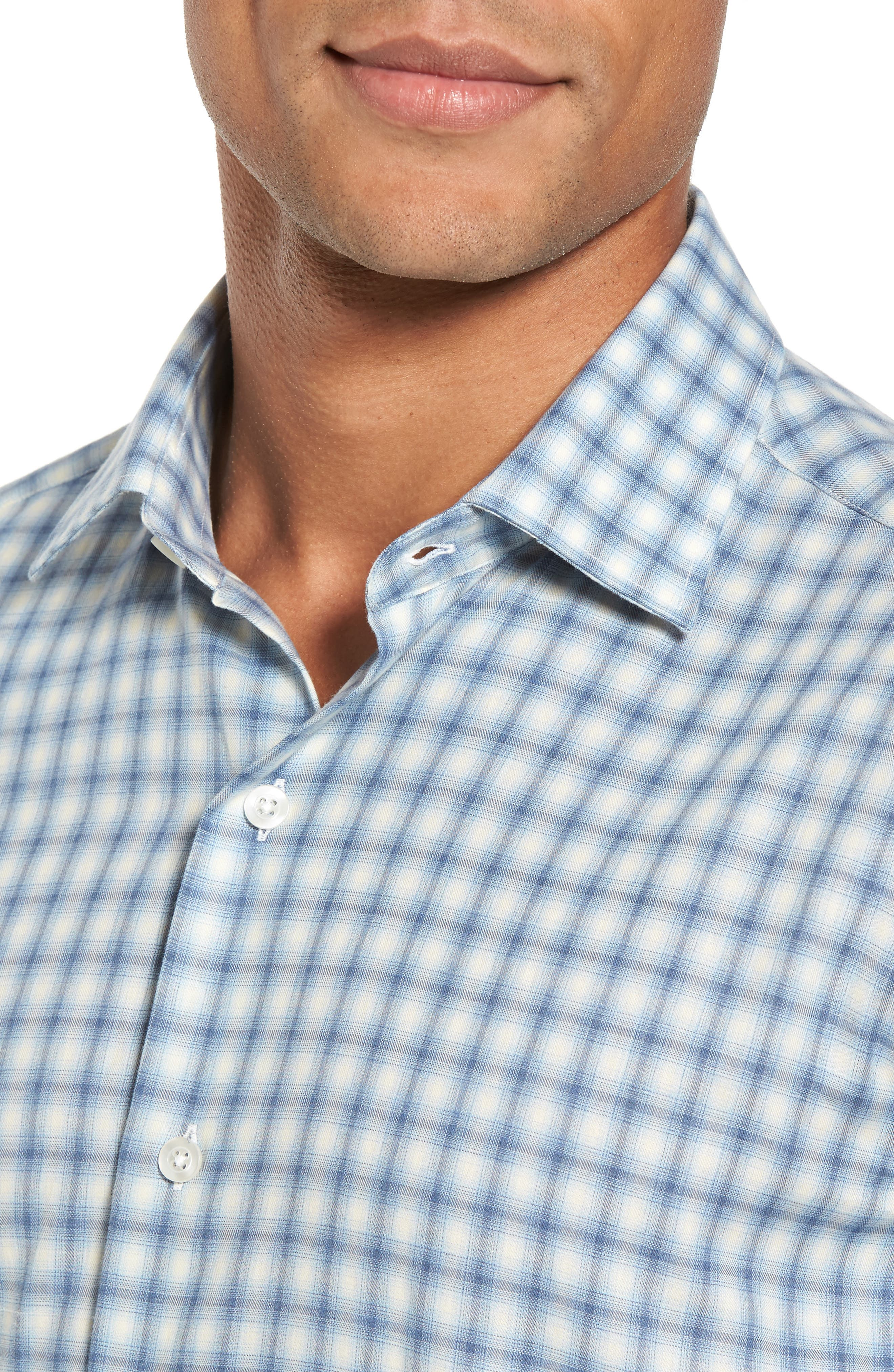 Slim Fit Plaid Twill Sport Shirt,                             Alternate thumbnail 4, color,