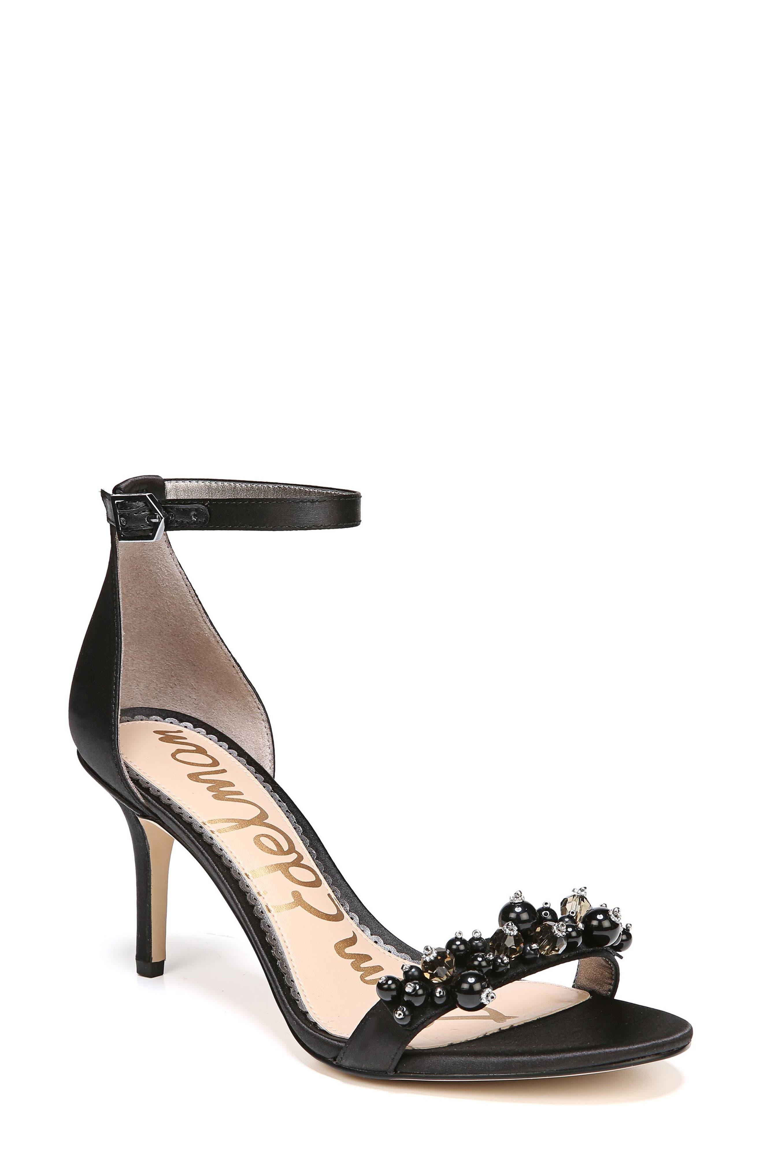 Platt Embellished Sandal,                         Main,                         color, BLACK SATIN