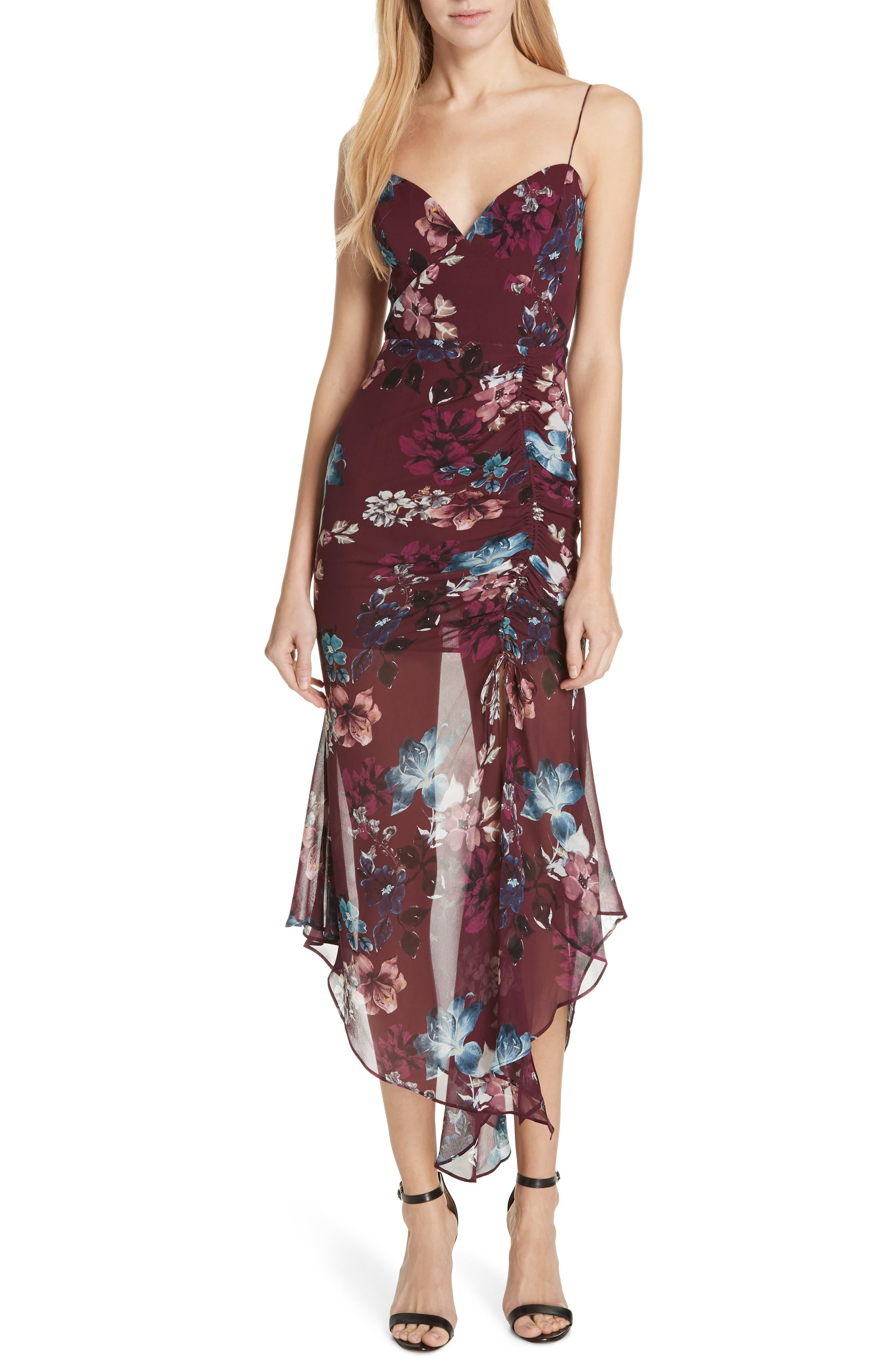 Floral Silk Drawstring Dress,                             Main thumbnail 1, color,                             930