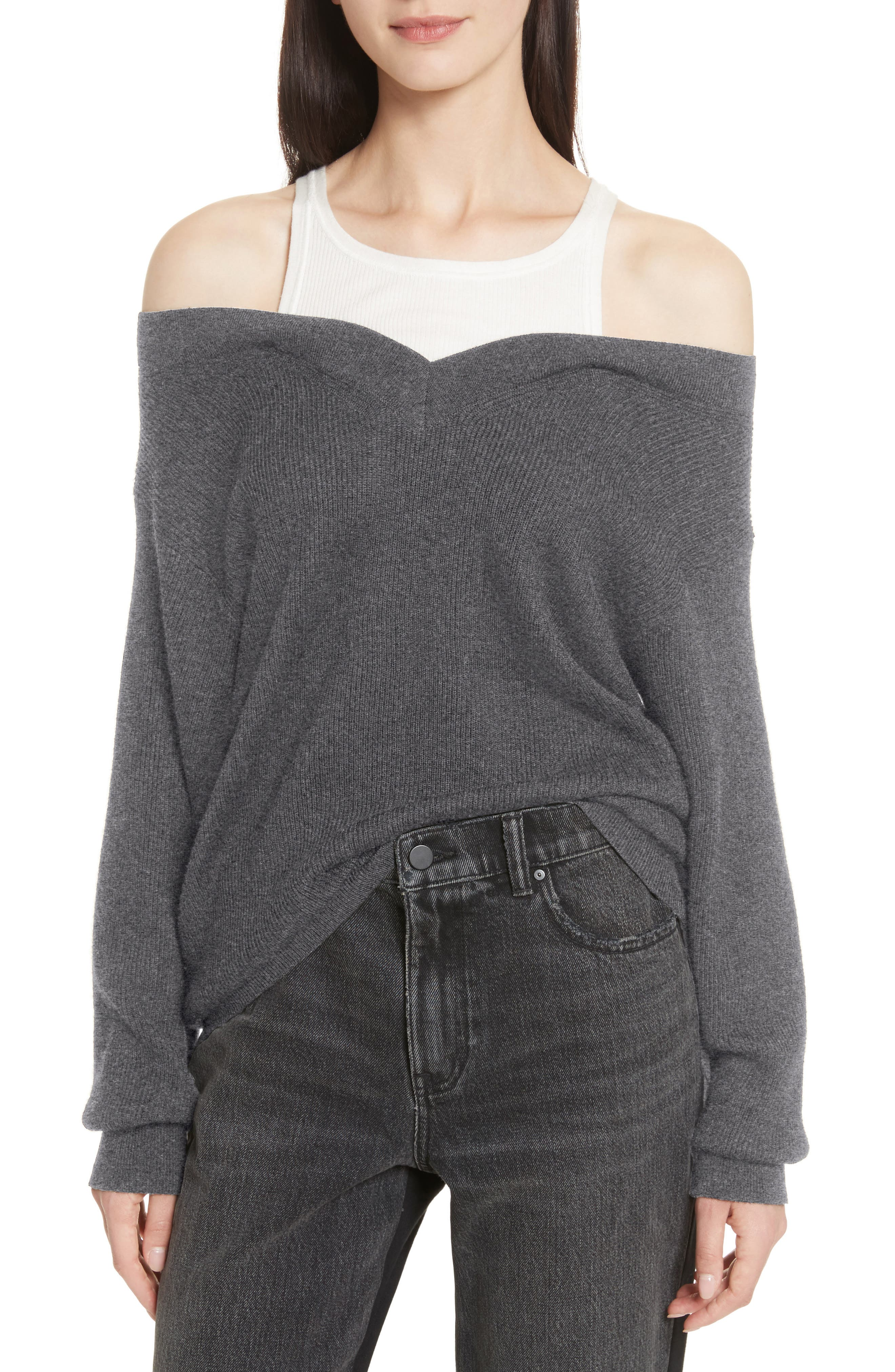 T by Alexander Wang Bi-Layer Off-the-Shoulder Sweater with Inner Tank,                         Main,                         color, 091