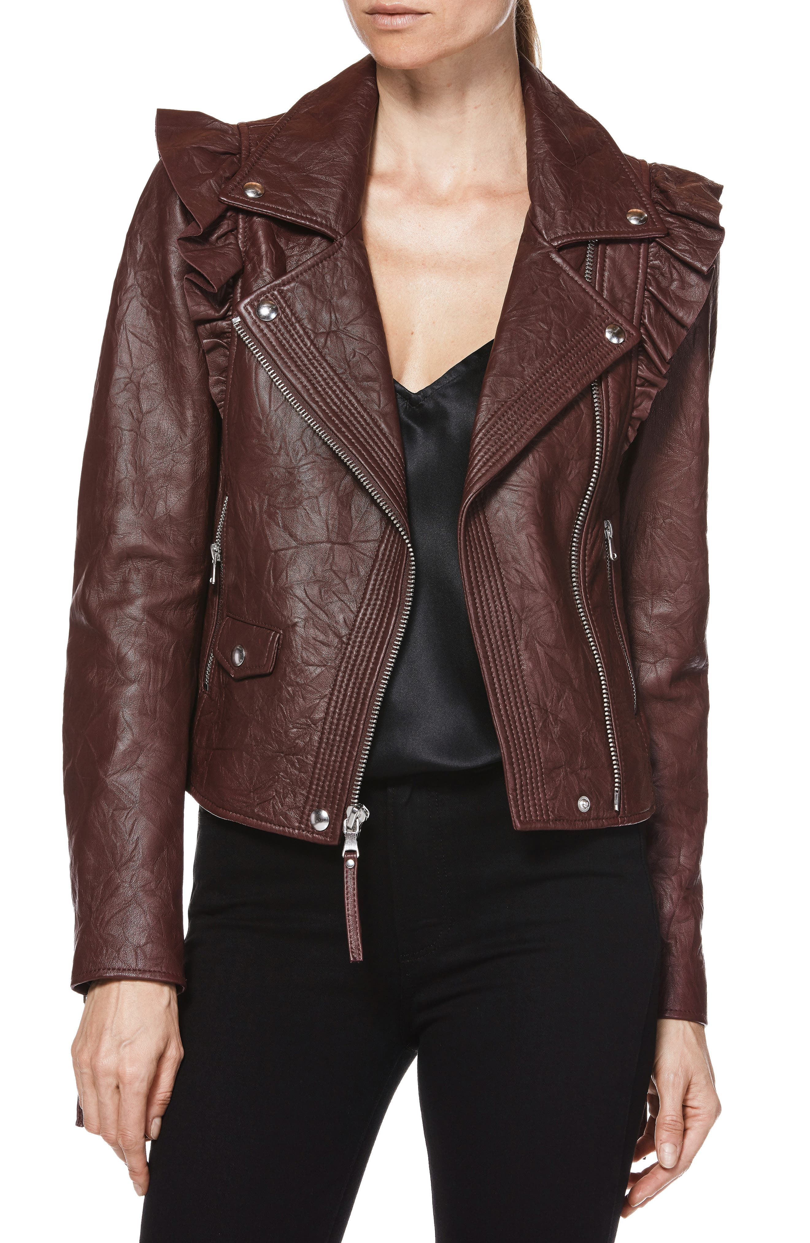 Annika Leather Moto Jacket,                         Main,                         color, 930