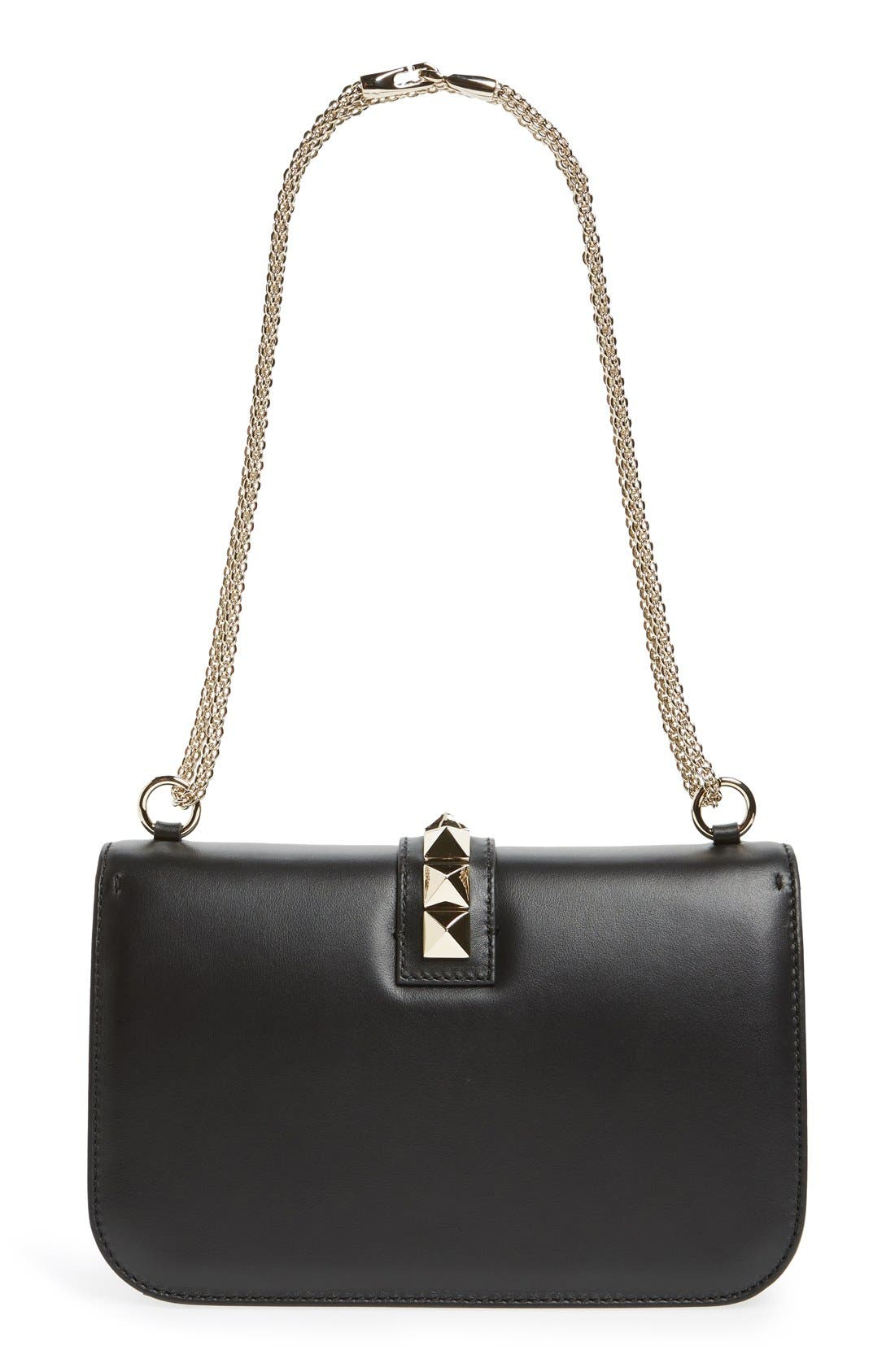 'Medium Lock' Shoulder Bag,                             Alternate thumbnail 3, color,                             NERO