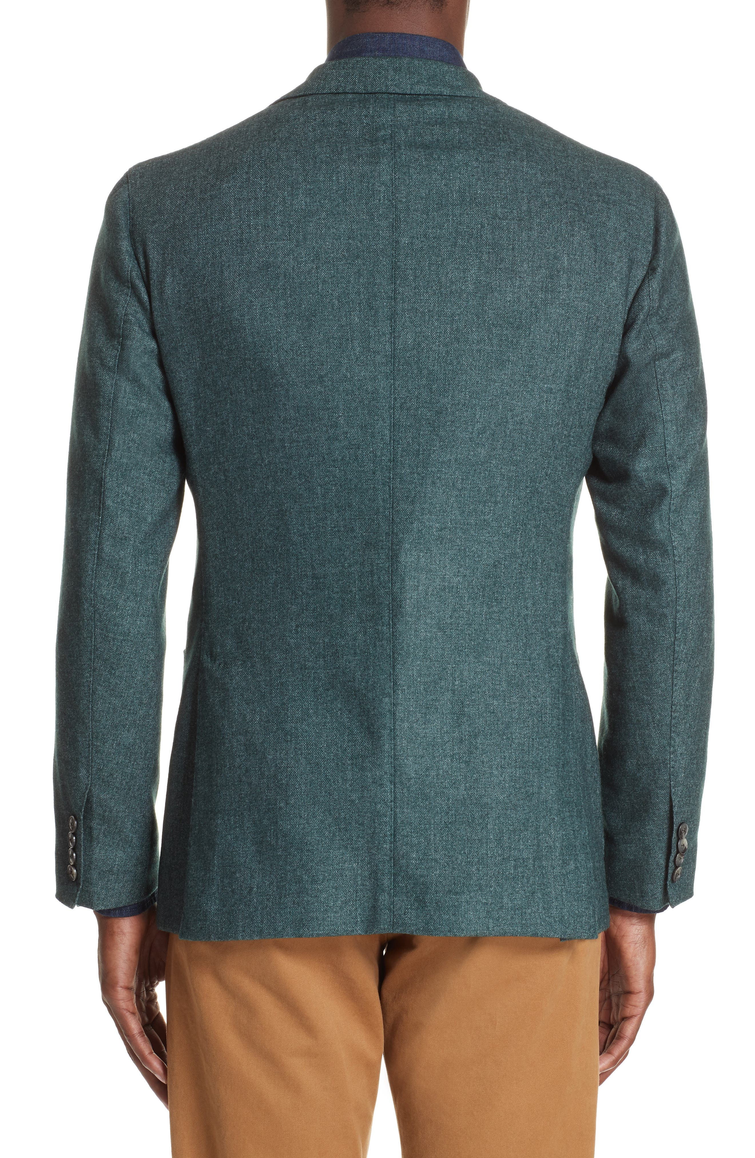 Trim Fit Cashmere Blend Blazer,                             Alternate thumbnail 2, color,                             GREEN