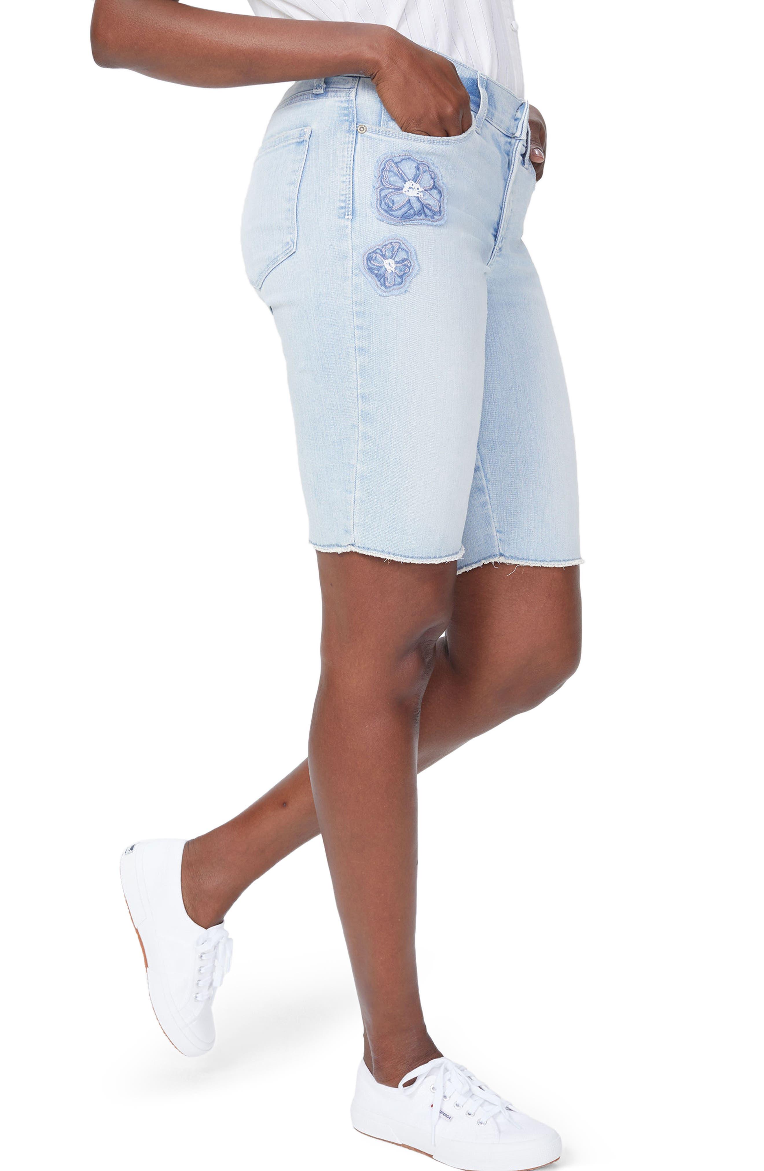 Briella Dream Blossom Denim Bermuda Shorts,                             Alternate thumbnail 3, color,                             422