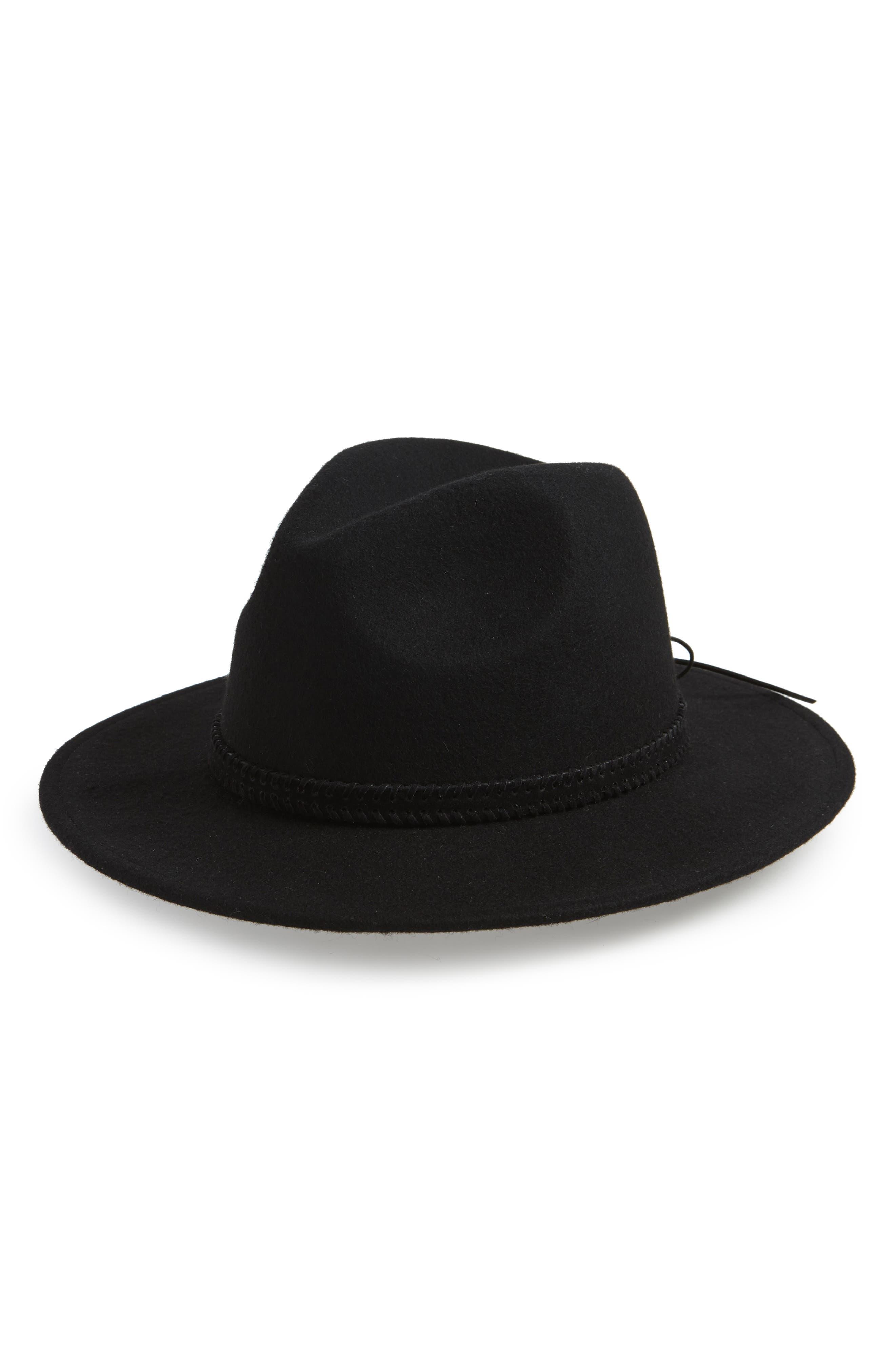 TREASURE & BOND Felt Panama Hat, Main, color, BLACK
