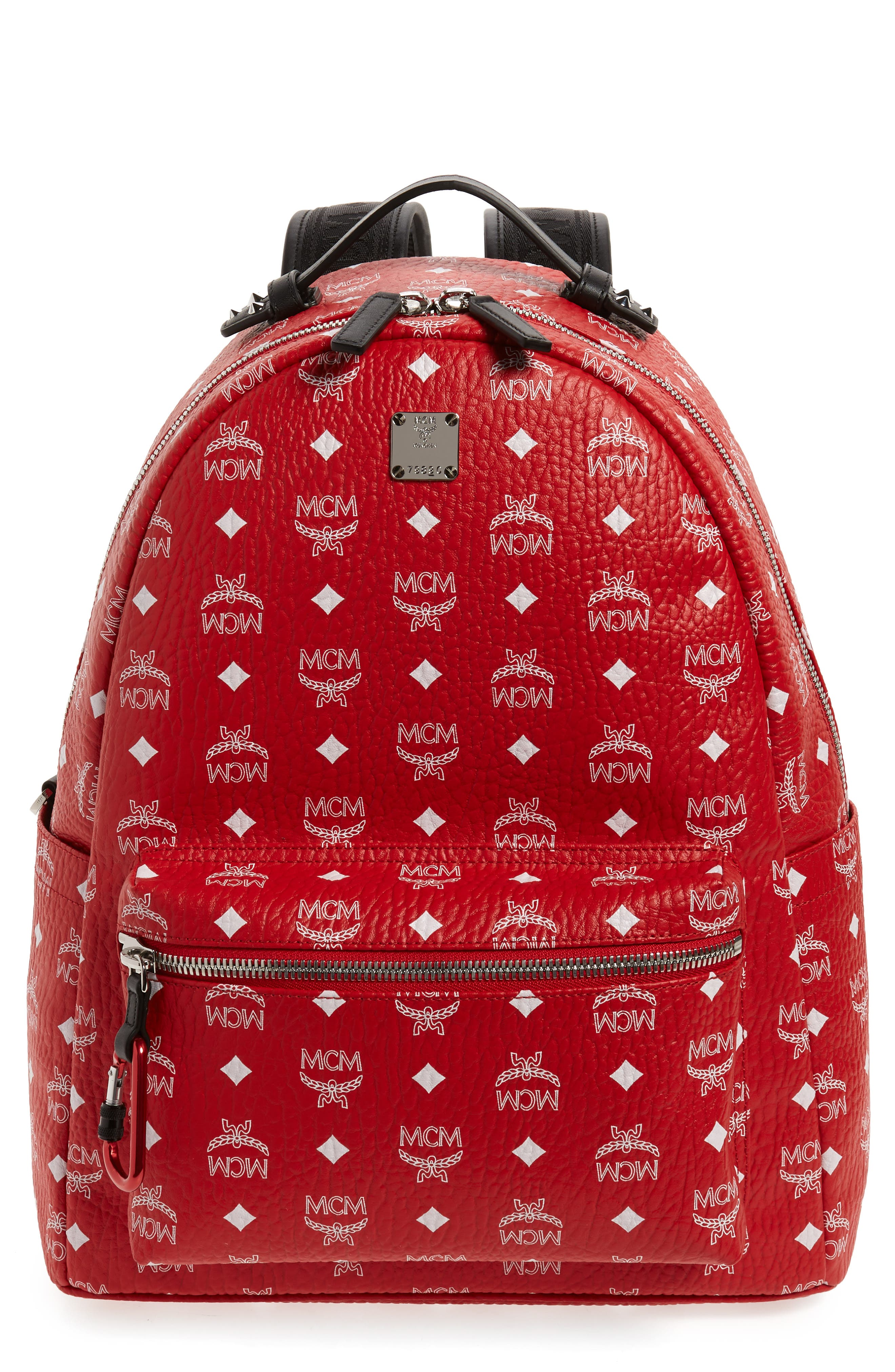 Stark Visetos Faux Leather Backpack,                             Main thumbnail 1, color,                             WHITE