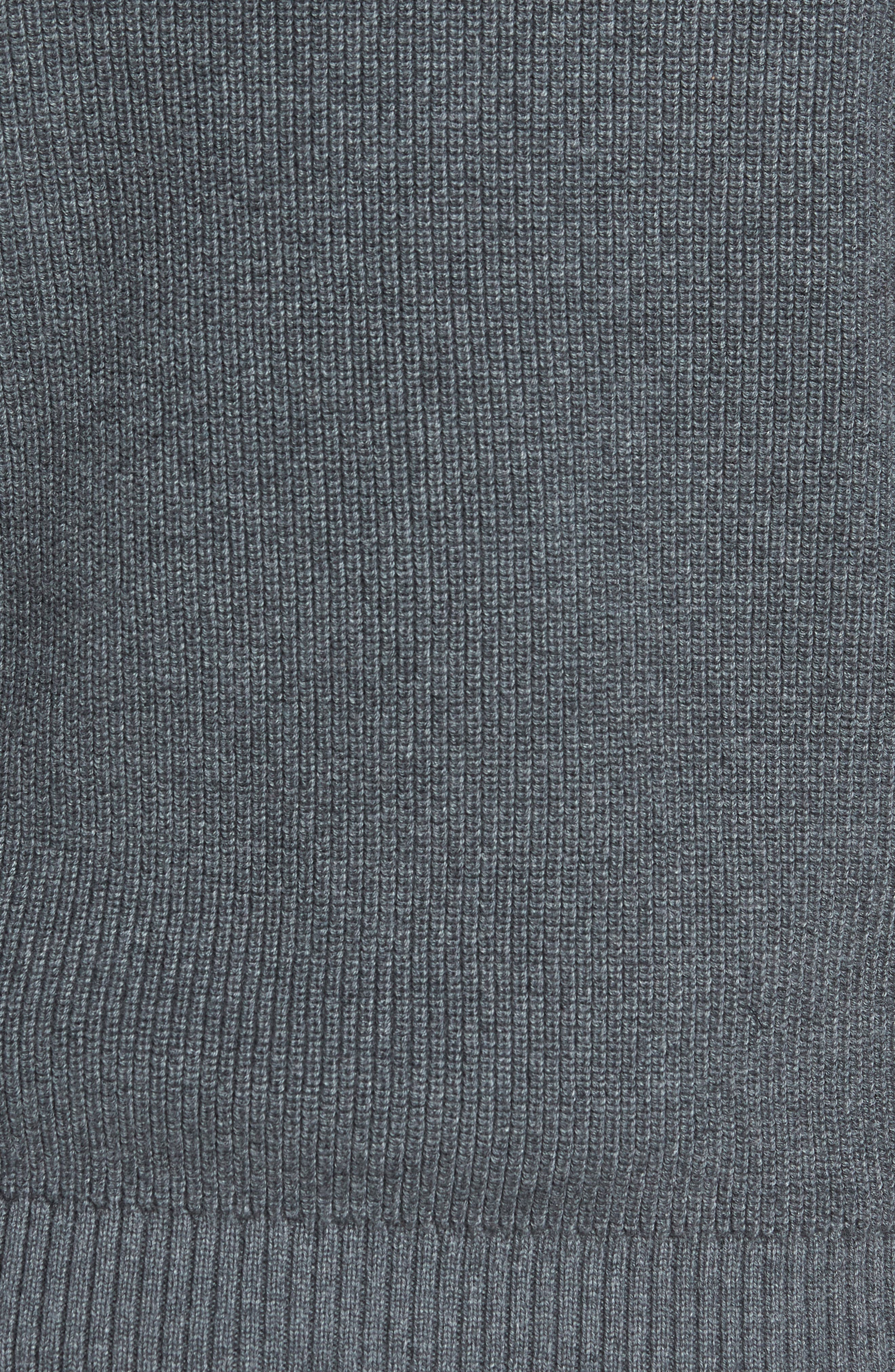 Ribbed Quarter Zip Sweater,                             Alternate thumbnail 5, color,                             GREY CASTLEROCK