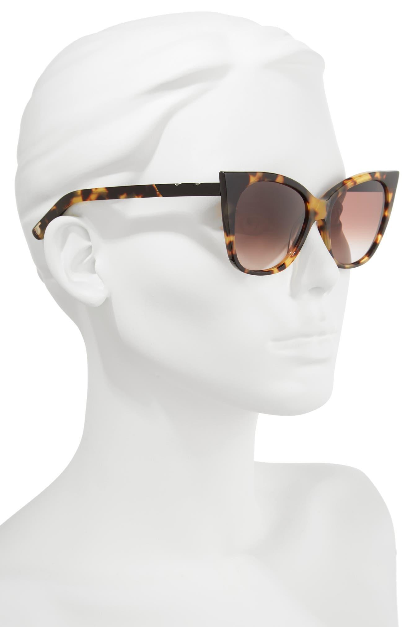 Cat & Mouse 51mm Cat Eye Sunglasses,                             Alternate thumbnail 2, color,                             DARK TORTOISE/ BLACK BROWN