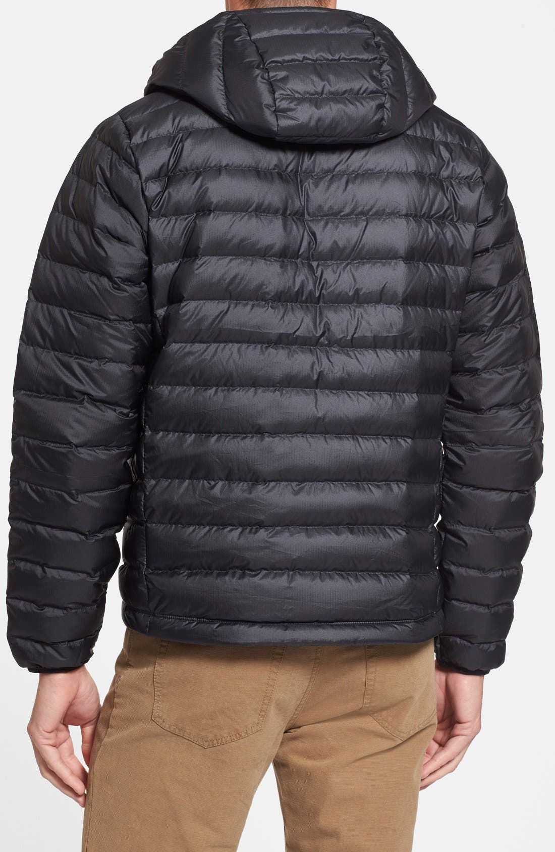 Packable Windproof & Water Resistant Goose Down Sweater Hooded Jacket,                             Alternate thumbnail 3, color,                             BLACK